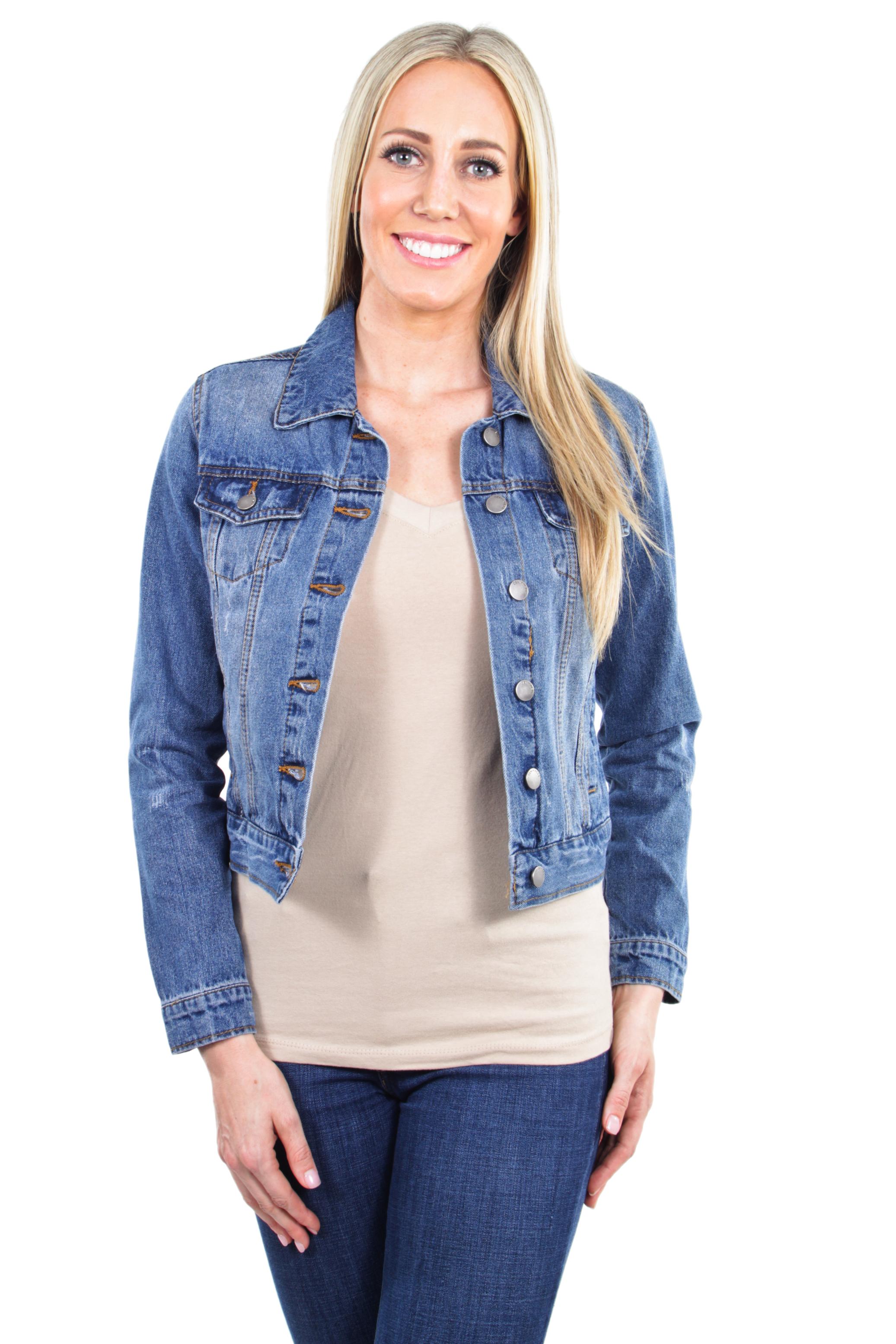 Women-039-s-Juniors-Premium-Distressed-Denim-Long-Sleeve-Jacket thumbnail 12