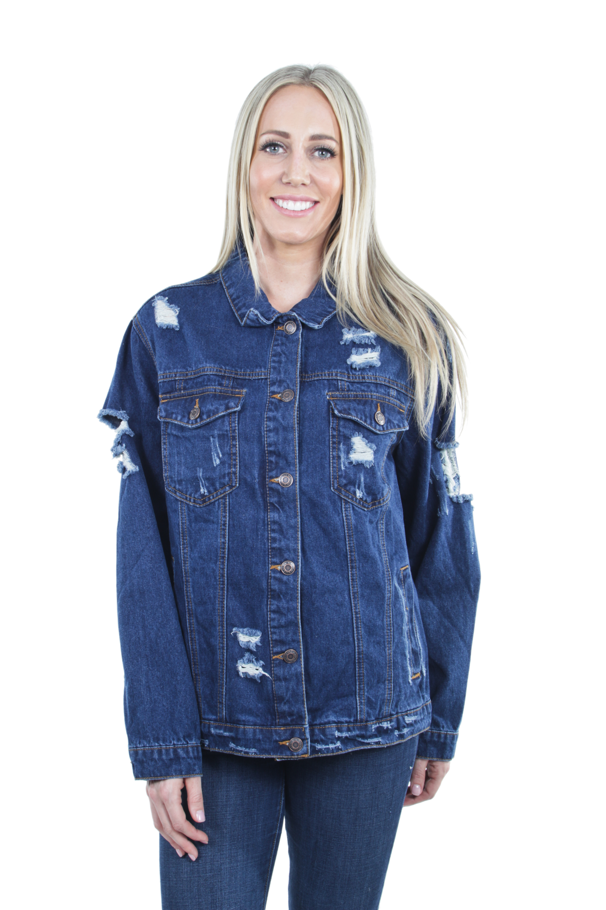 Women-039-s-Plus-Size-Oversize-Ripped-Denim-Jackets-Long-Sleeve-Jean-Coats thumbnail 15