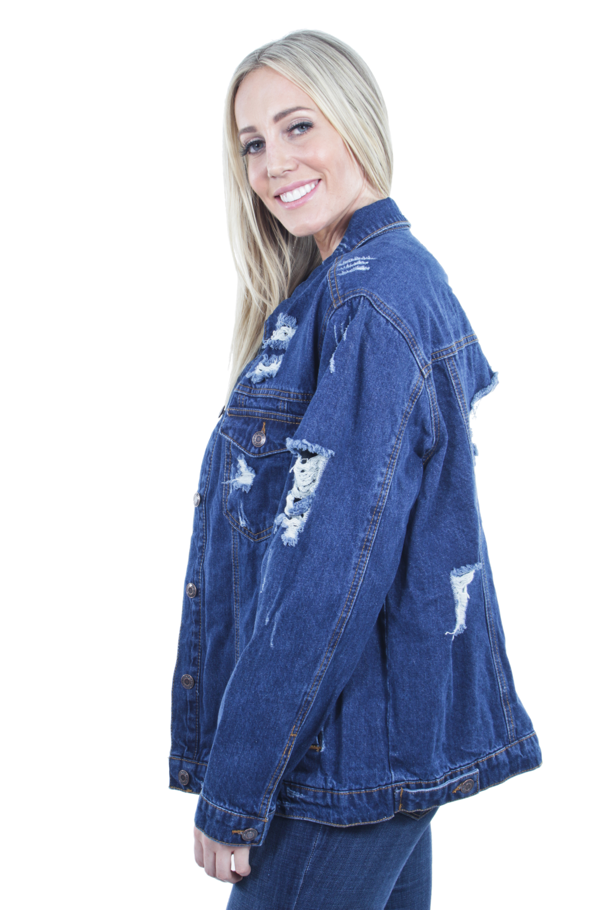 Women-039-s-Plus-Size-Oversize-Ripped-Denim-Jackets-Long-Sleeve-Jean-Coats thumbnail 13