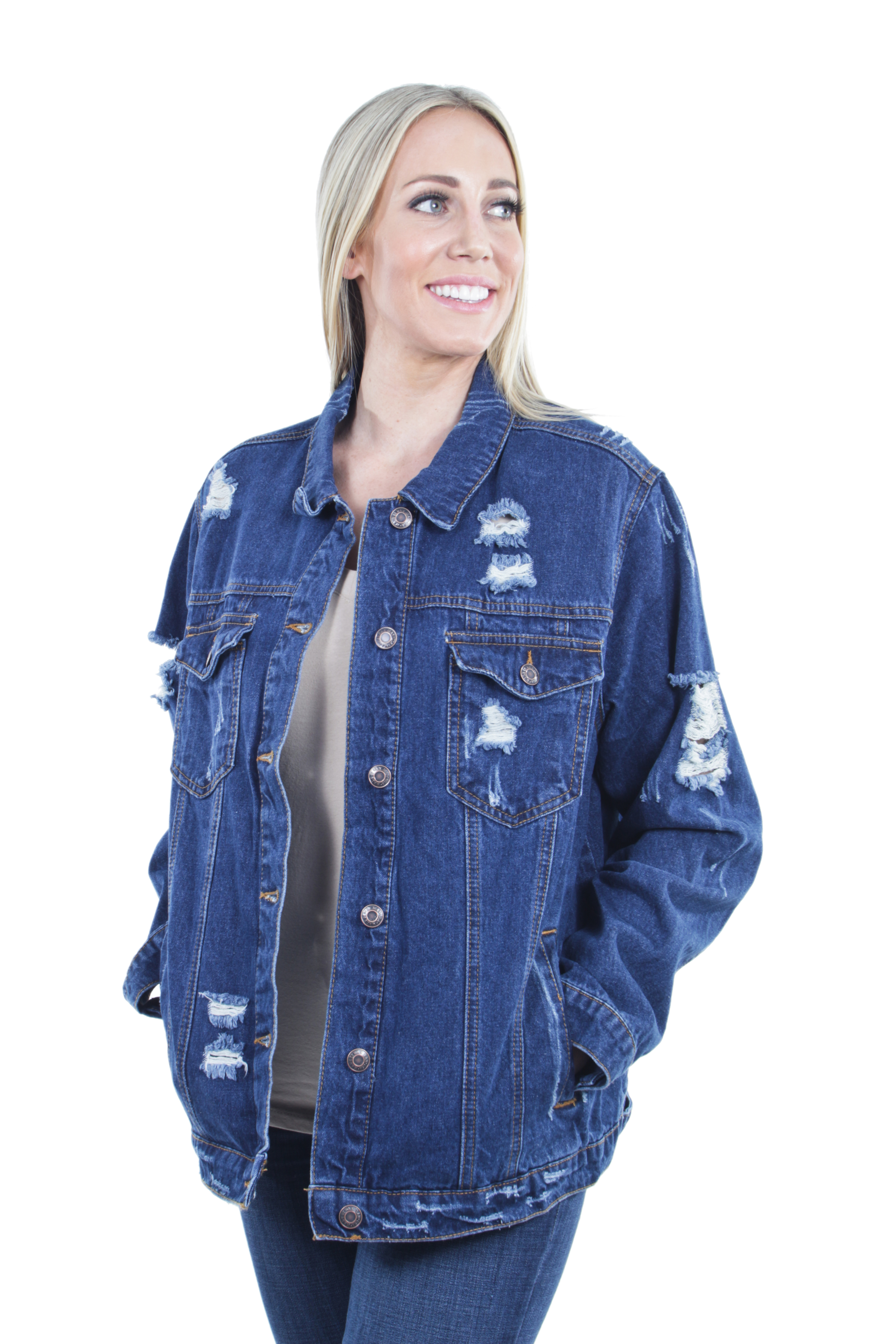 Women-039-s-Plus-Size-Oversize-Ripped-Denim-Jackets-Long-Sleeve-Jean-Coats thumbnail 12