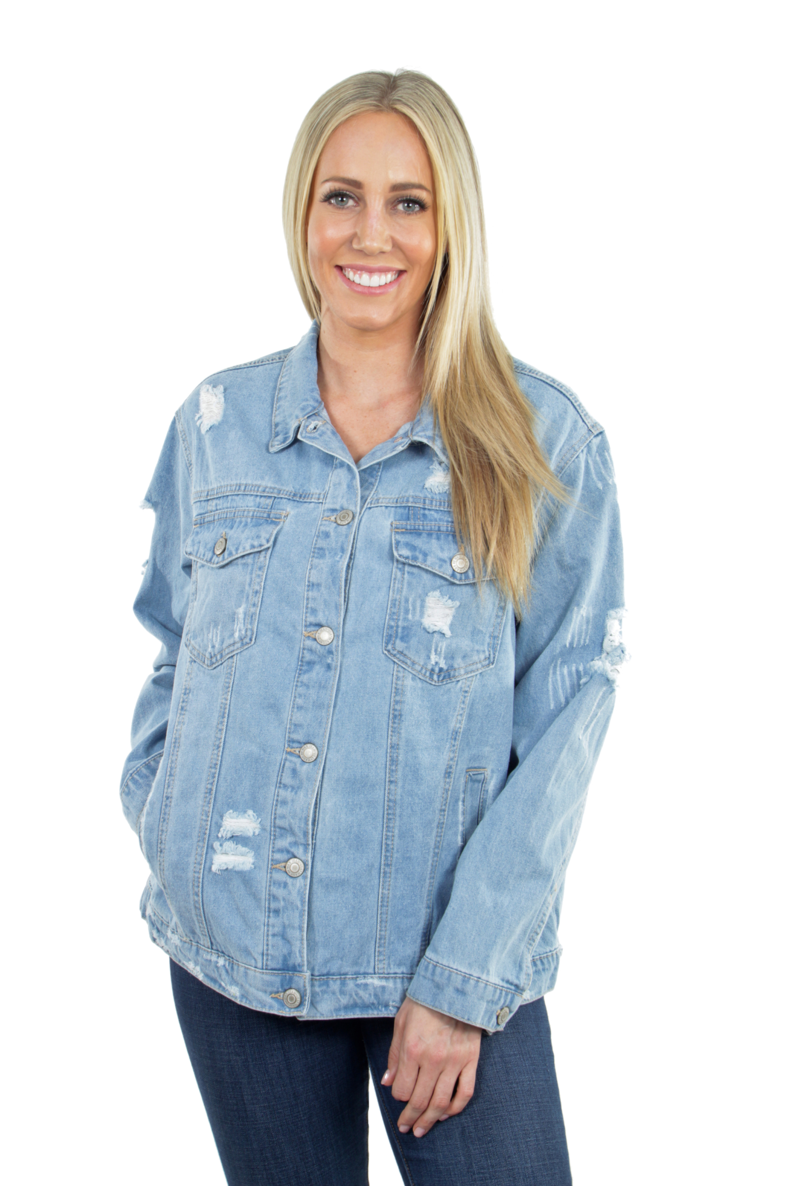 Women-039-s-Plus-Size-Oversize-Ripped-Denim-Jackets-Long-Sleeve-Jean-Coats thumbnail 22