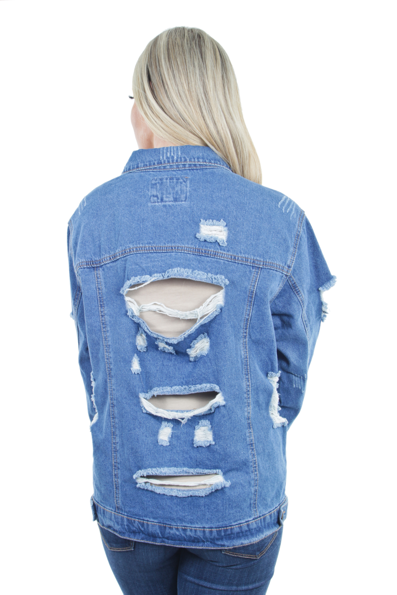 Women-039-s-Plus-Size-Oversize-Ripped-Denim-Jackets-Long-Sleeve-Jean-Coats thumbnail 29