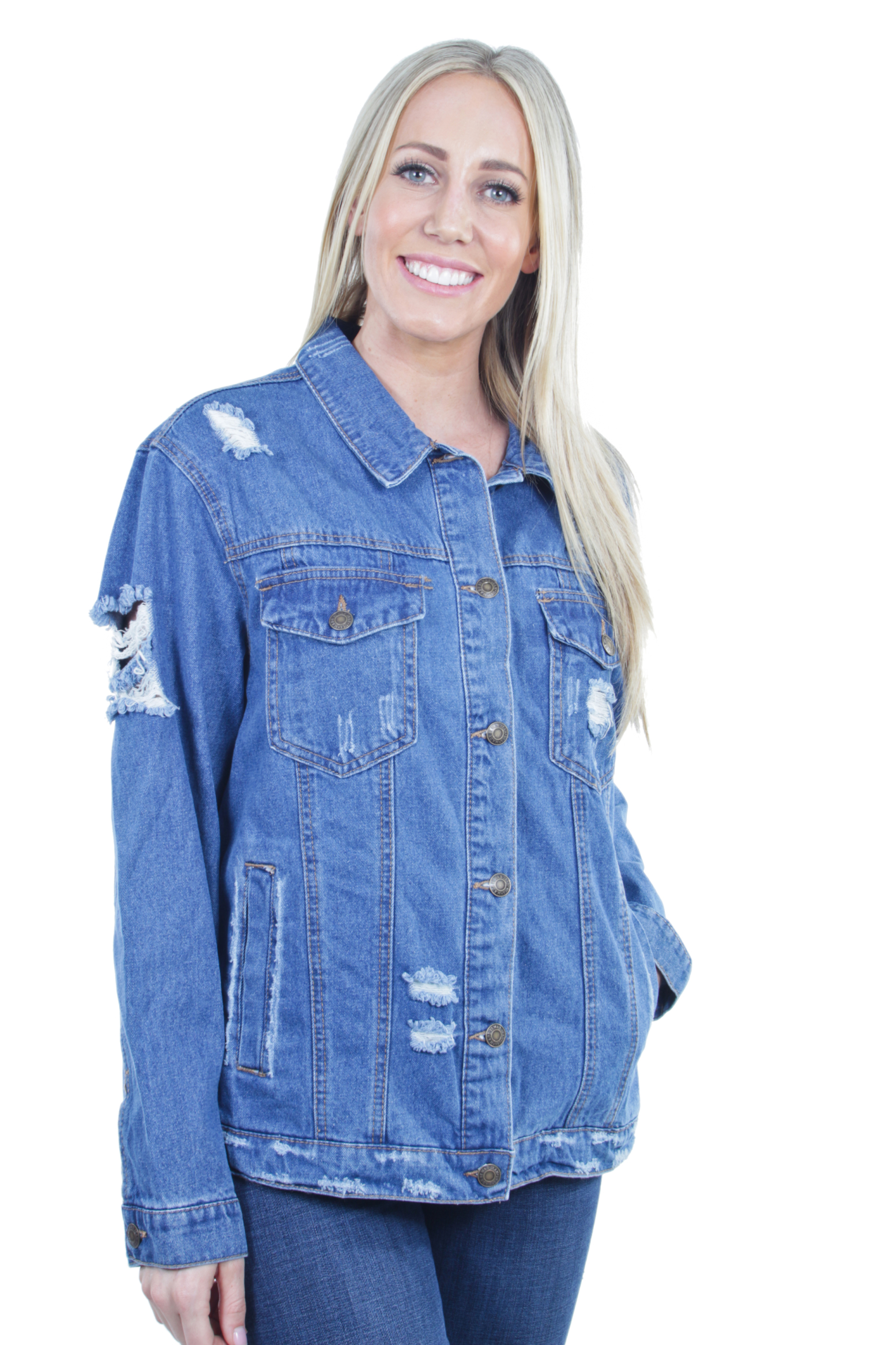 Women-039-s-Plus-Size-Oversize-Ripped-Denim-Jackets-Long-Sleeve-Jean-Coats thumbnail 28