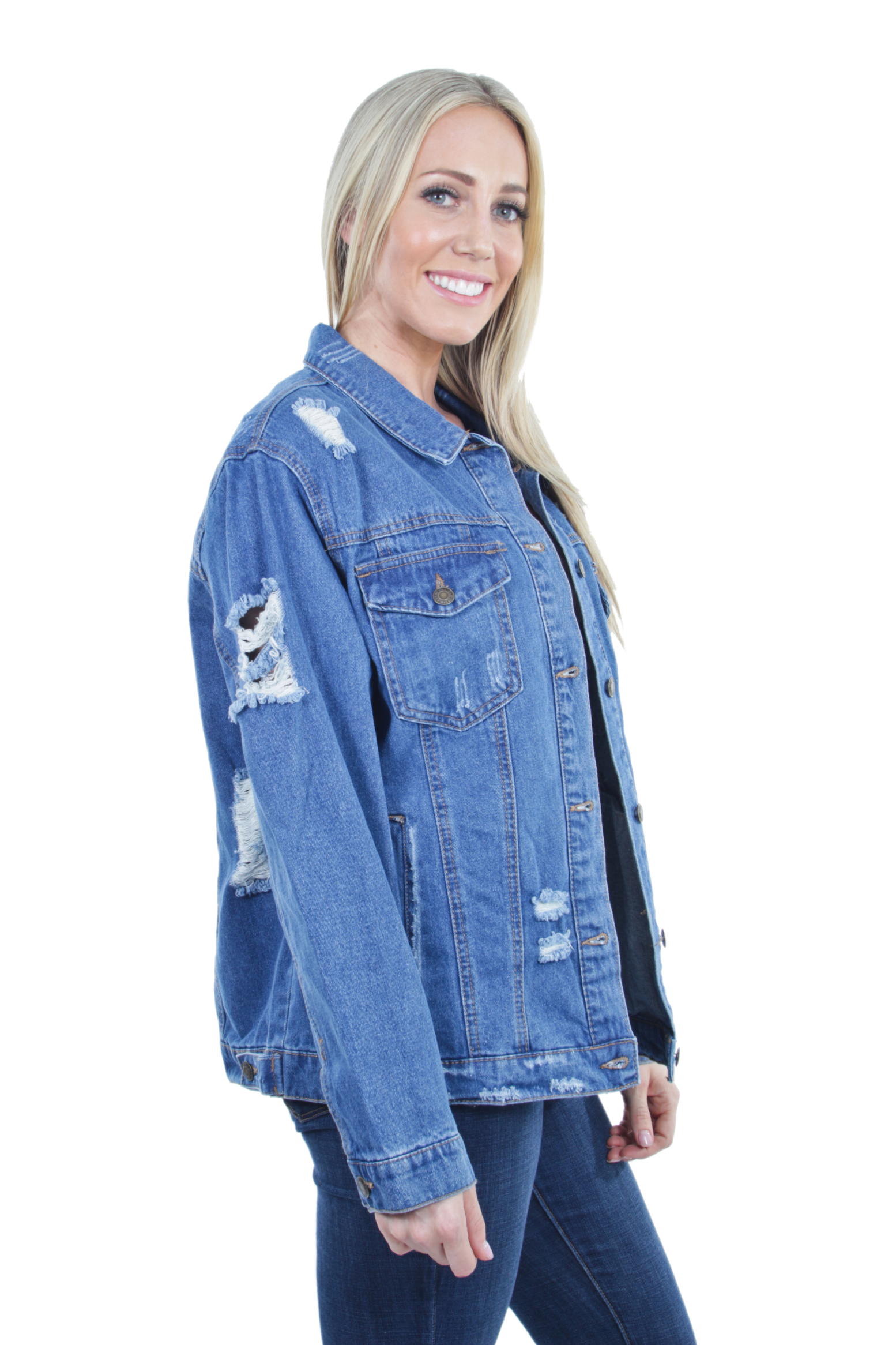Women-039-s-Plus-Size-Oversize-Ripped-Denim-Jackets-Long-Sleeve-Jean-Coats thumbnail 27