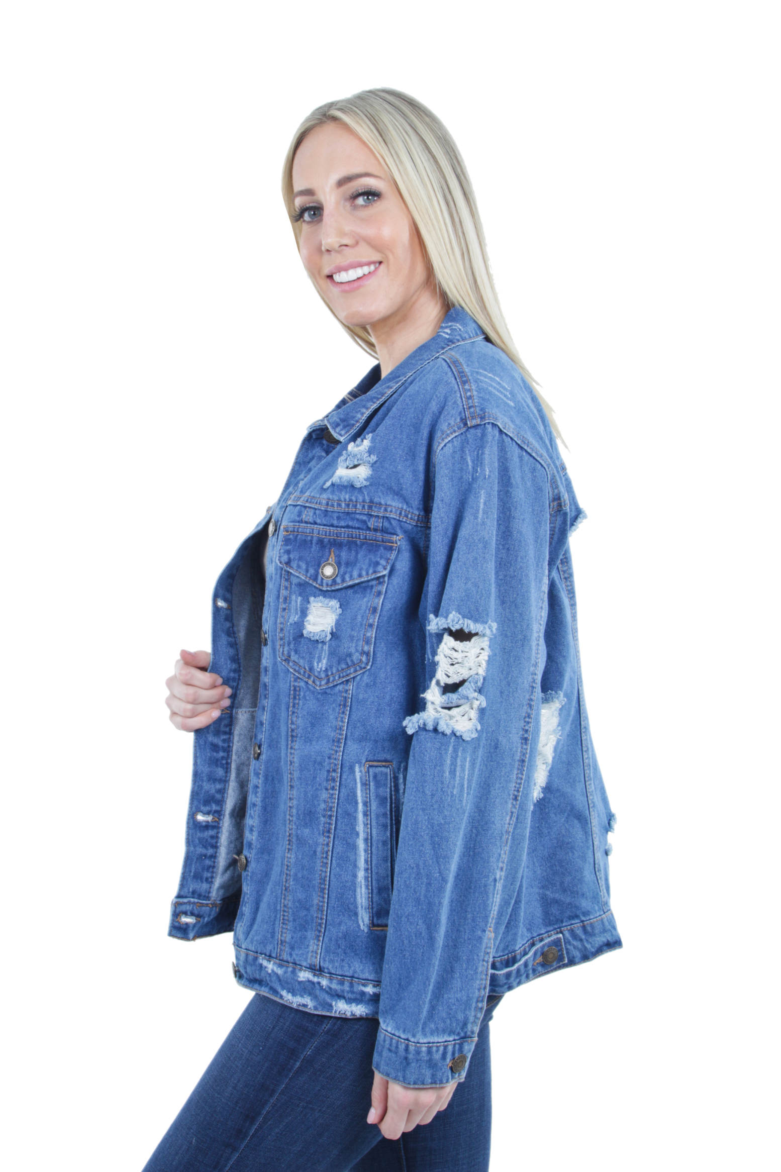 Women-039-s-Plus-Size-Oversize-Ripped-Denim-Jackets-Long-Sleeve-Jean-Coats thumbnail 26