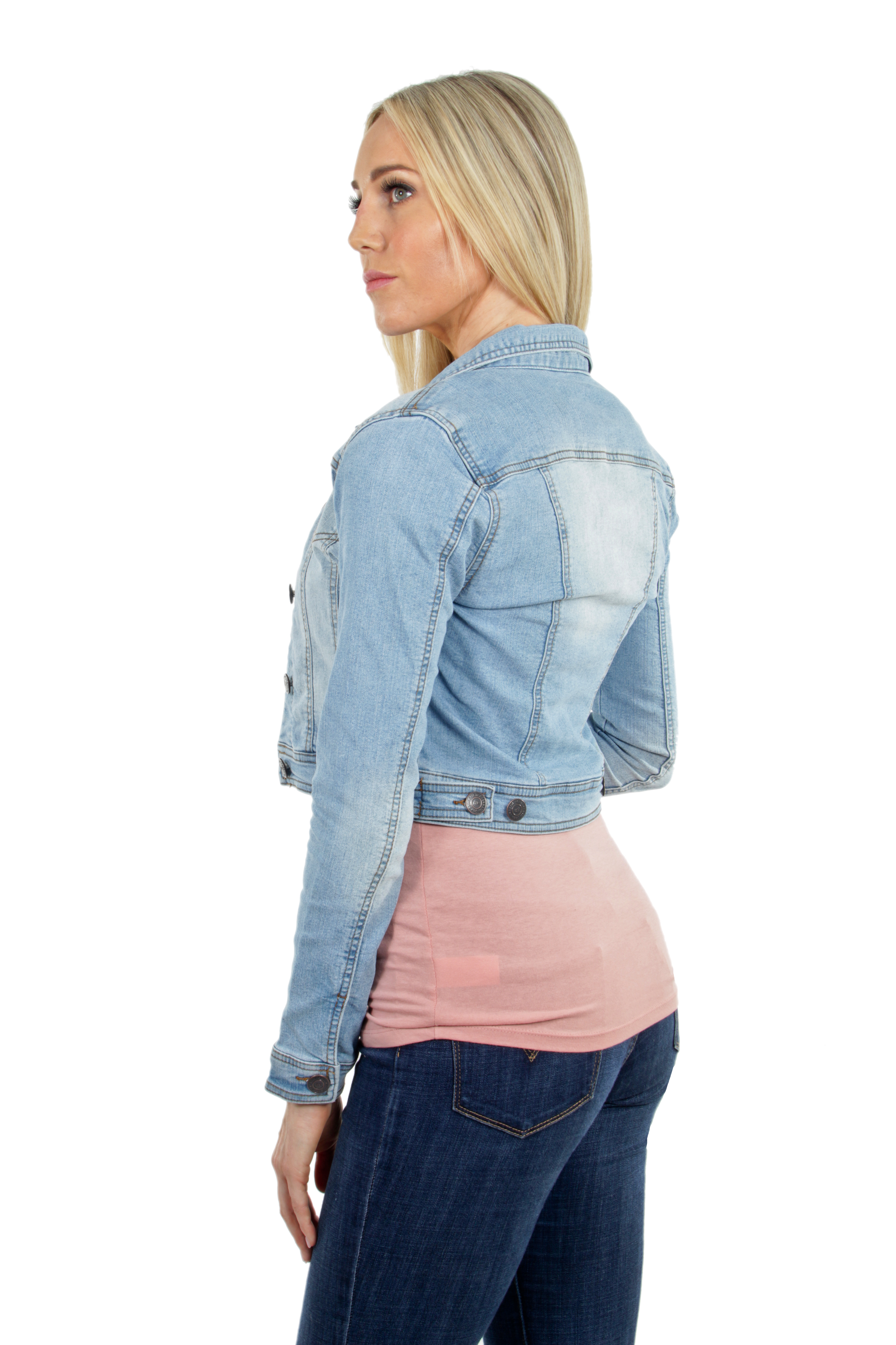 Women-039-s-Juniors-Premium-Stretch-Denim-Long-Sleeve-Jacket thumbnail 6