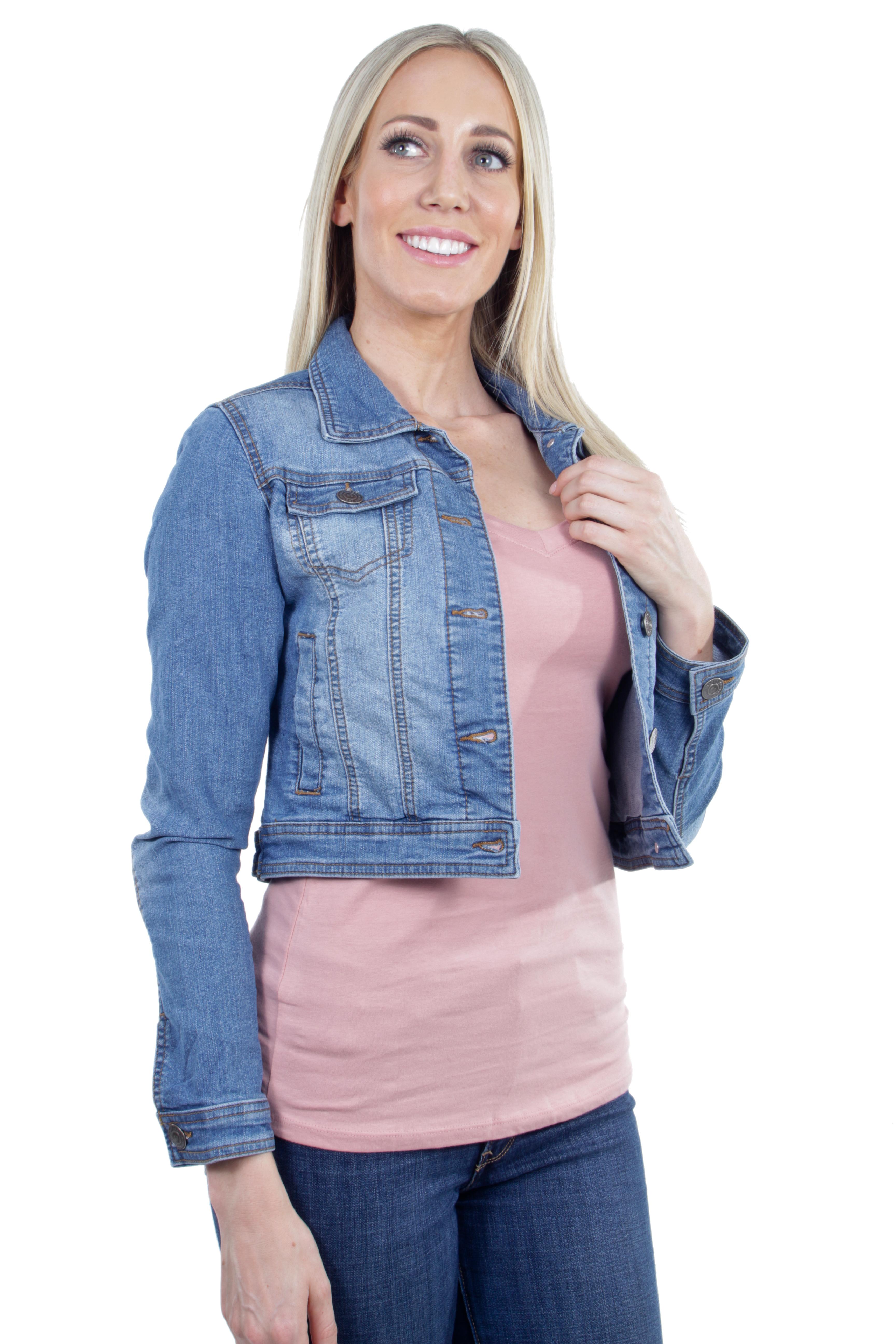 Women-039-s-Juniors-Premium-Stretch-Denim-Long-Sleeve-Jacket thumbnail 10