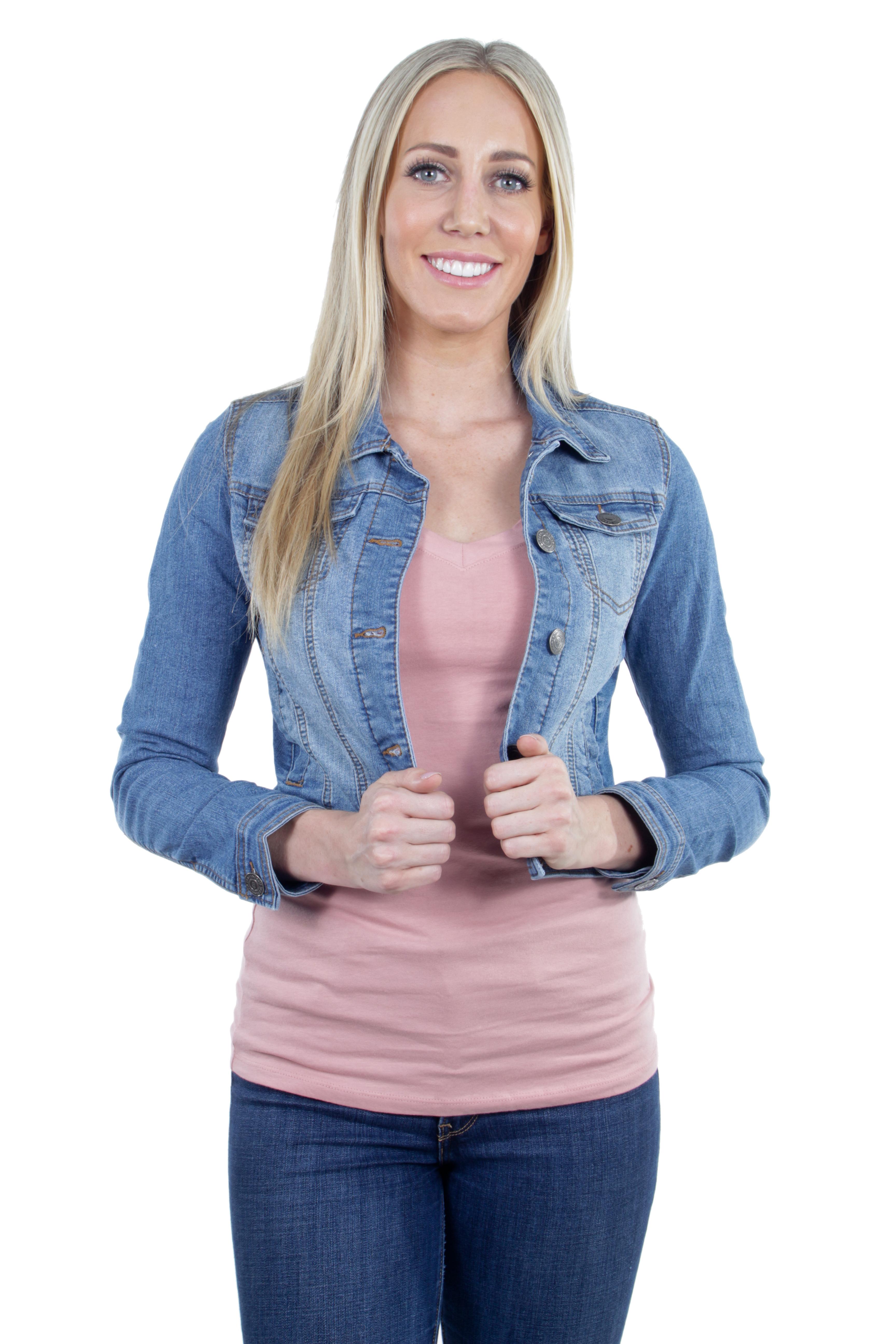 Women-039-s-Juniors-Premium-Stretch-Denim-Long-Sleeve-Jacket thumbnail 12