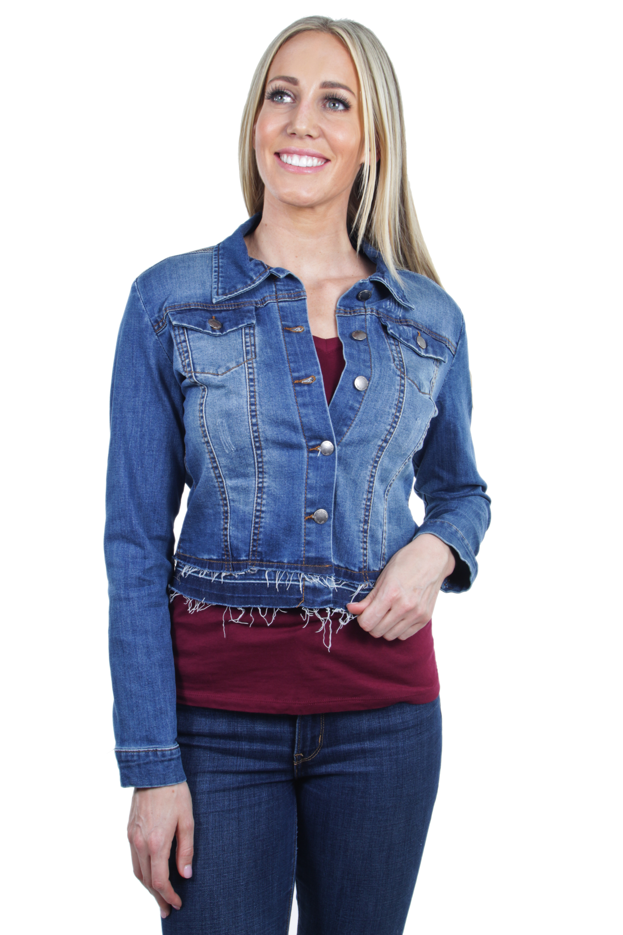 Women-039-s-Plus-Junior-size-Stretch-Denim-Long-Sleeve-Double-Layered-Hem-Jacket thumbnail 12