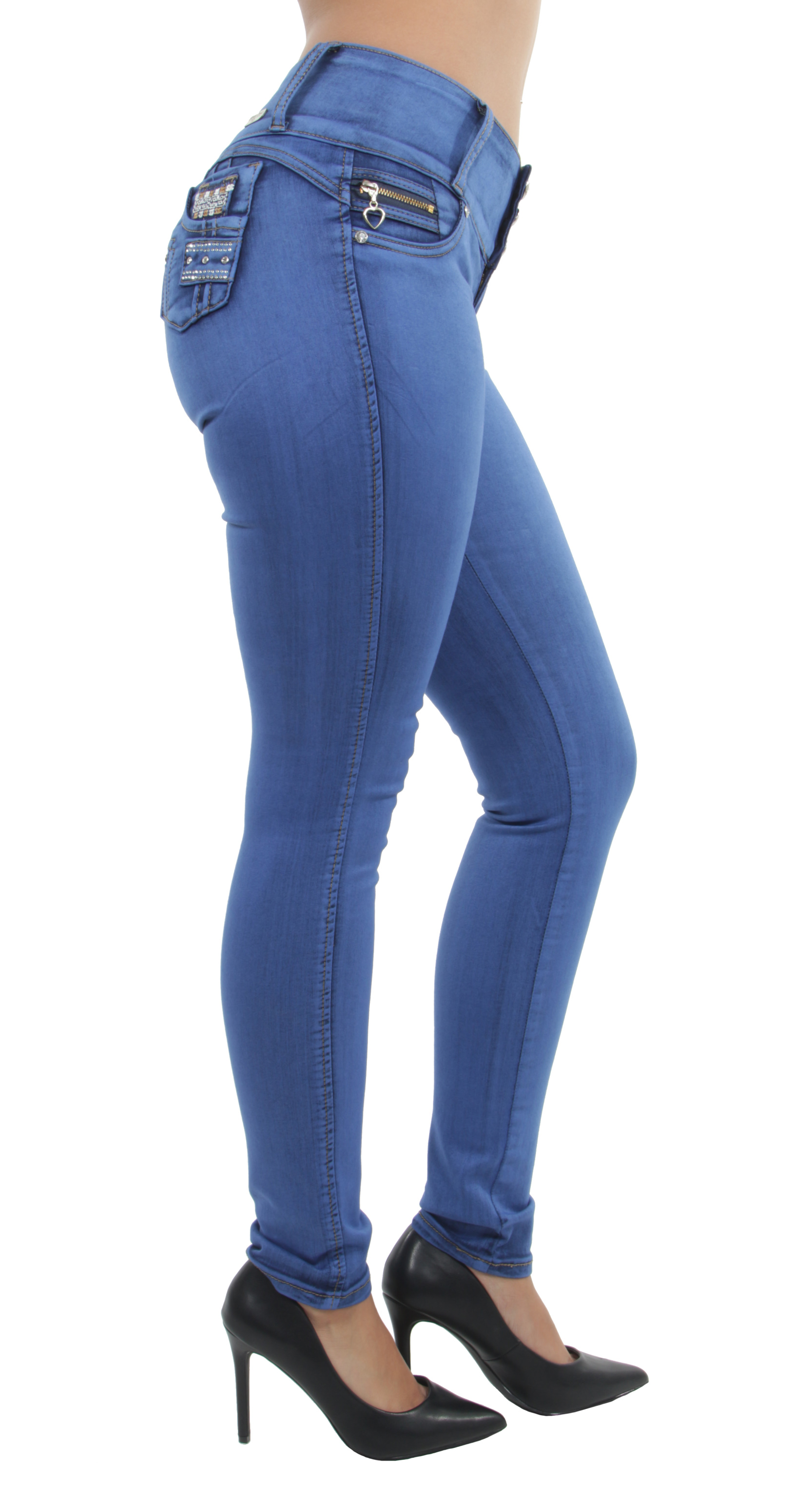 Women-039-s-Juniors-Colombian-Design-Butt-Lift-Push-Up-Mid-Waist-Skinny-Jeans thumbnail 11