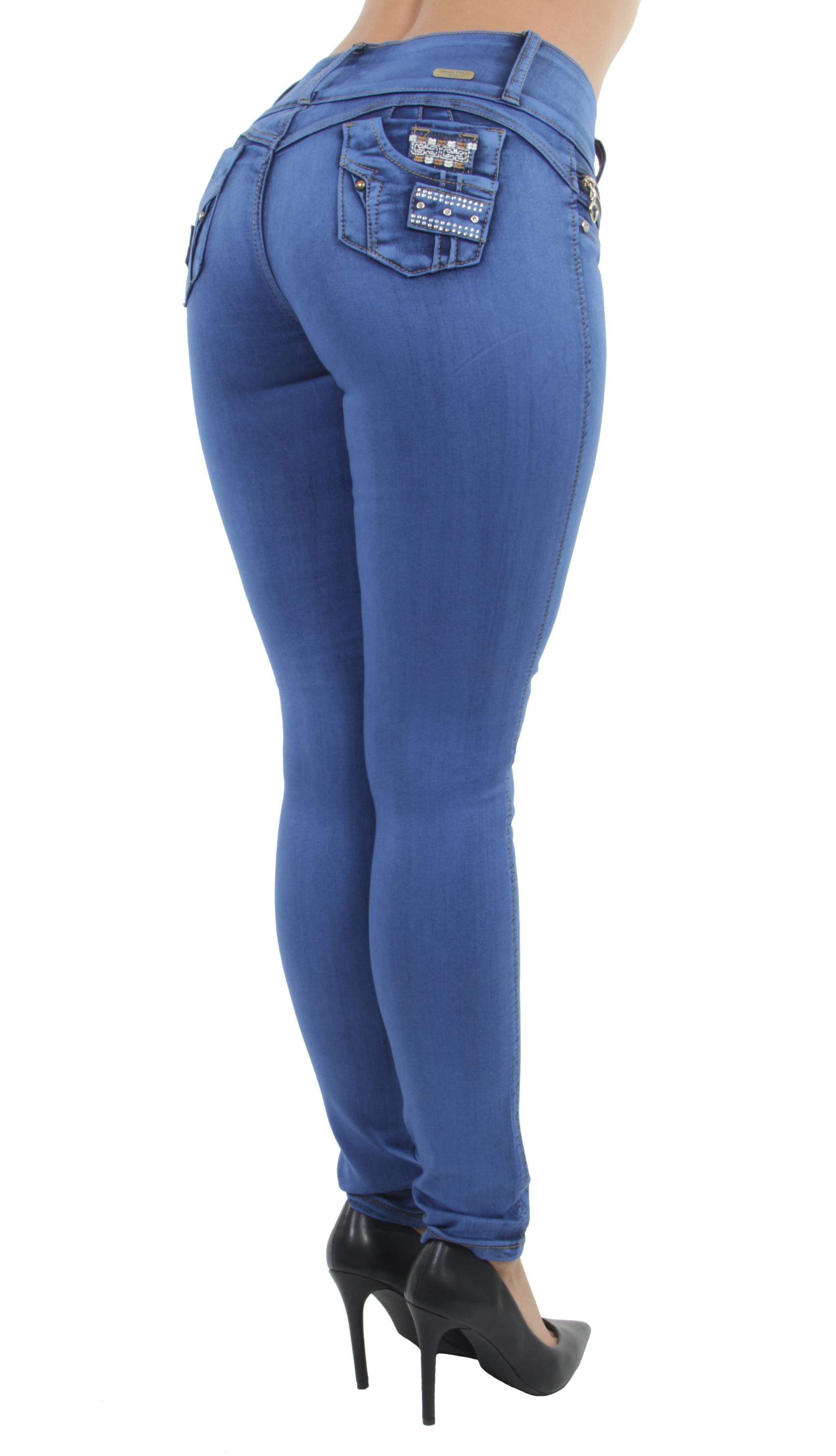 Women-039-s-Juniors-Colombian-Design-Butt-Lift-Push-Up-Mid-Waist-Skinny-Jeans thumbnail 13