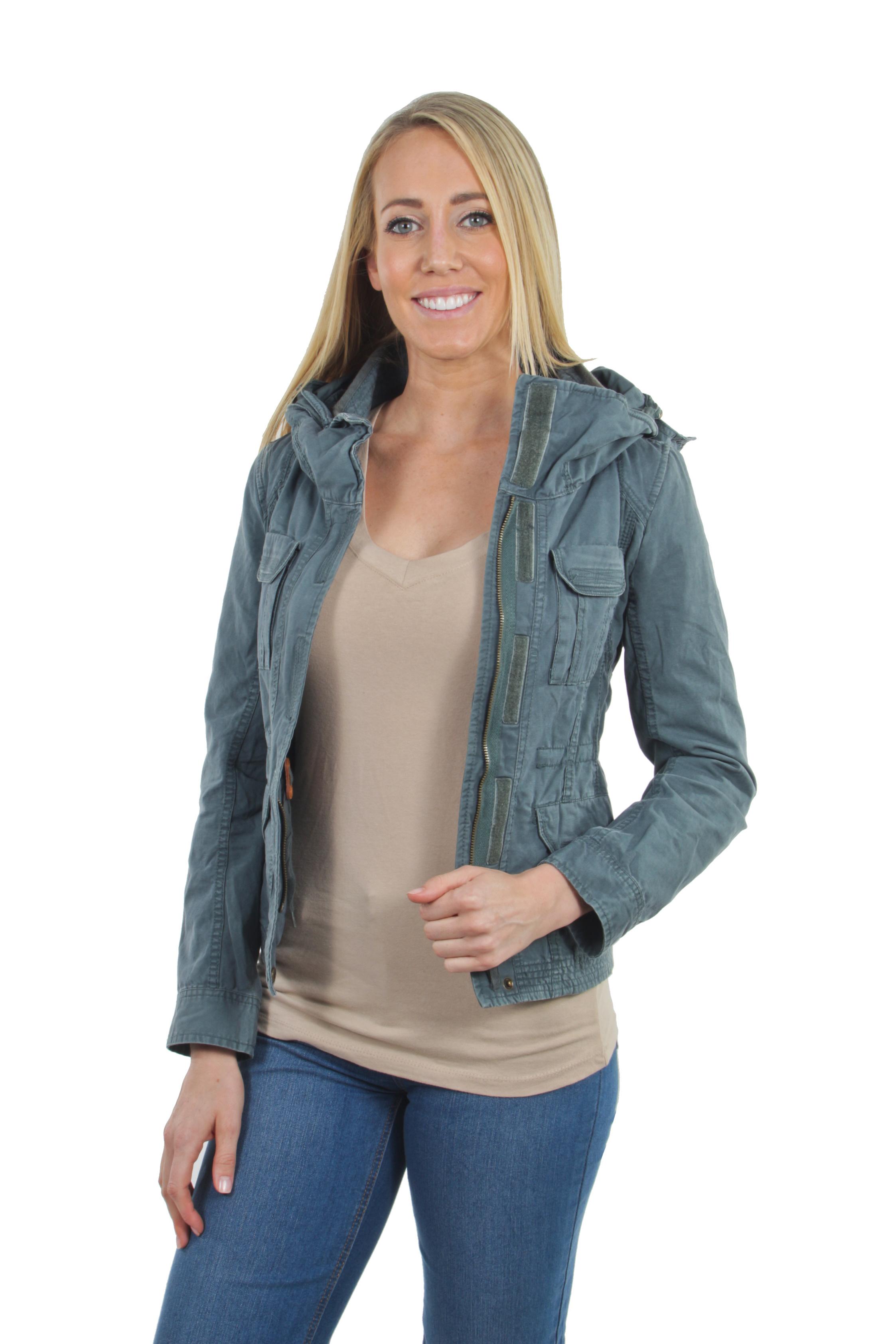 Women-039-s-Juniors-Anorak-Safari-Hoodie-Long-Sleeve-Jacket thumbnail 12