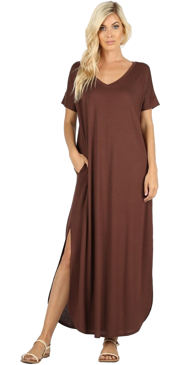 Women-039-s-Juniors-Plus-Short-Sleeve-Casual-Long-Maxi-Dress-Side-Slits-and-pockets thumbnail 8