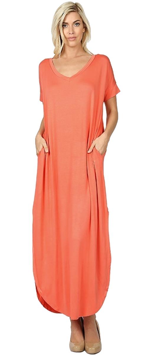 Women-039-s-Juniors-Plus-Short-Sleeve-Casual-Long-Maxi-Dress-Side-Slits-and-pockets thumbnail 10