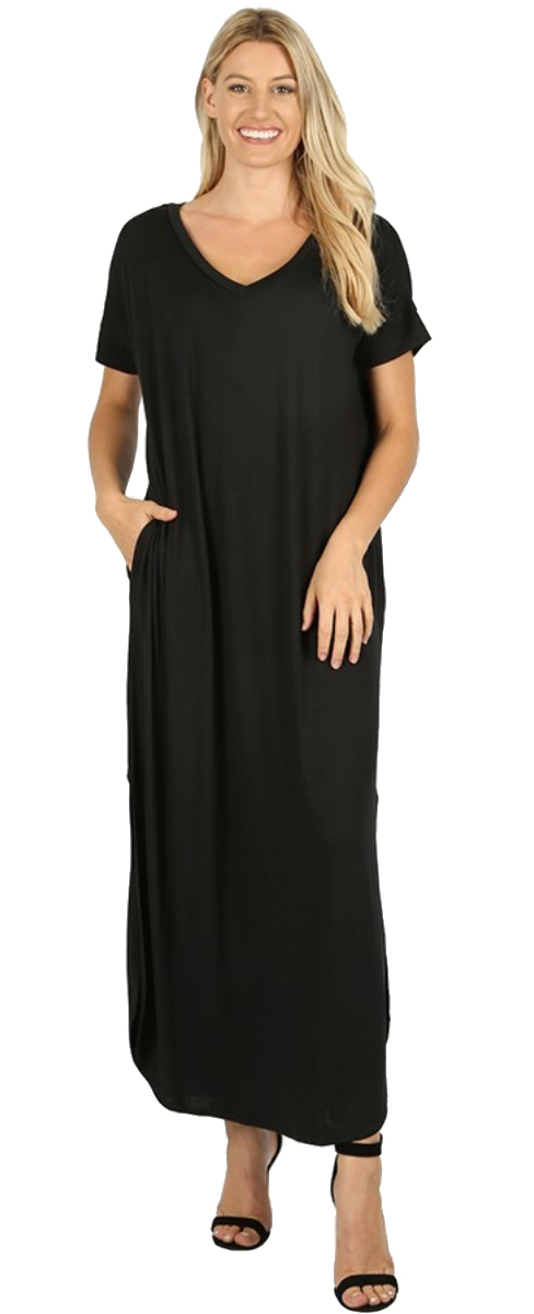 Women-039-s-Juniors-Plus-Short-Sleeve-Casual-Long-Maxi-Dress-Side-Slits-and-pockets thumbnail 15