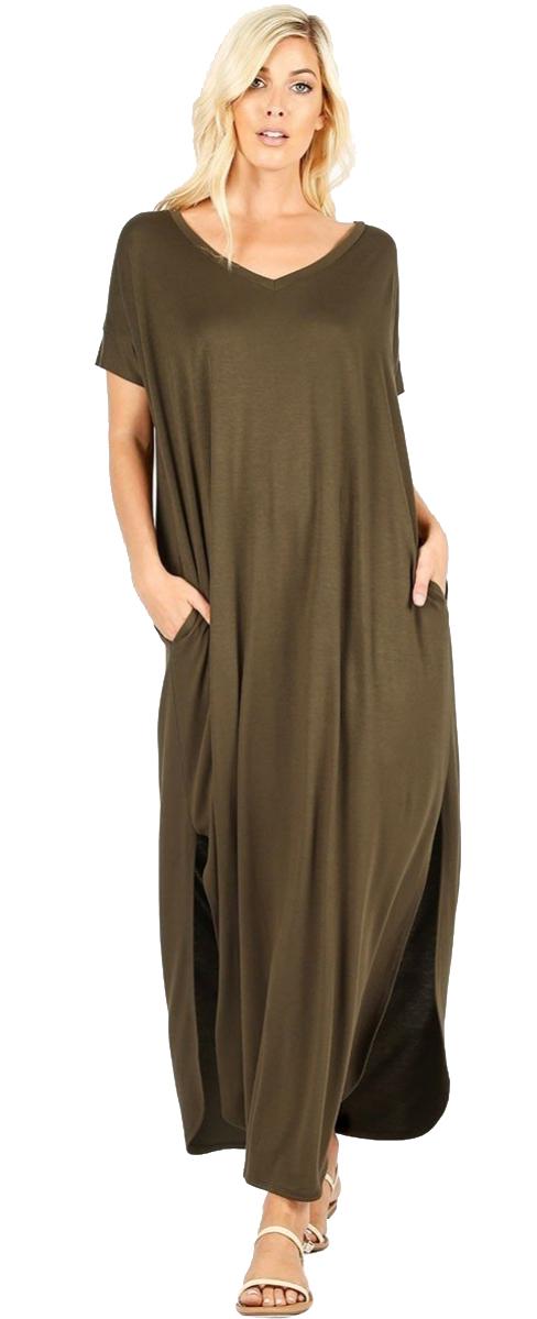 Women-039-s-Juniors-Plus-Short-Sleeve-Casual-Long-Maxi-Dress-Side-Slits-and-pockets thumbnail 22