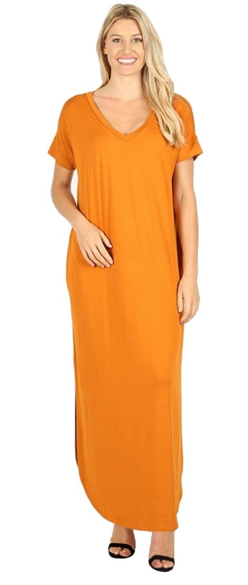 Women-039-s-Juniors-Plus-Short-Sleeve-Casual-Long-Maxi-Dress-Side-Slits-and-pockets thumbnail 27