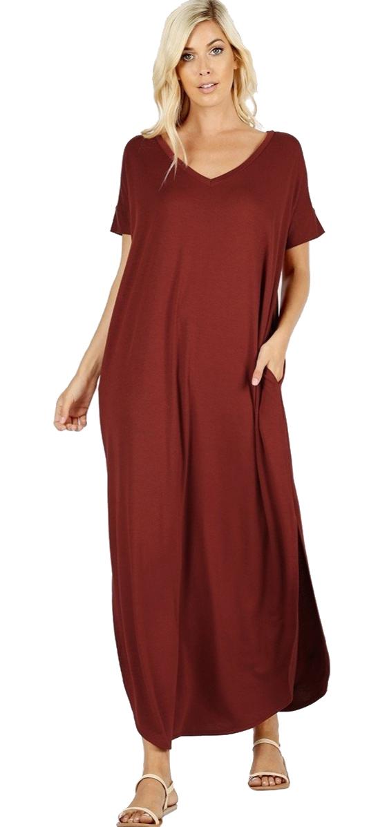Women-039-s-Juniors-Plus-Short-Sleeve-Casual-Long-Maxi-Dress-Side-Slits-and-pockets thumbnail 32