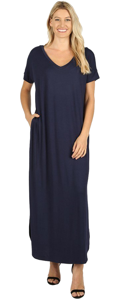 Women-039-s-Juniors-Plus-Short-Sleeve-Casual-Long-Maxi-Dress-Side-Slits-and-pockets thumbnail 40