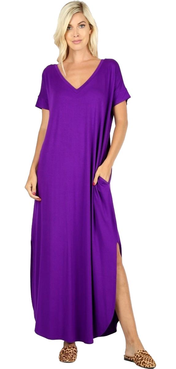 Women-039-s-Juniors-Plus-Short-Sleeve-Casual-Long-Maxi-Dress-Side-Slits-and-pockets thumbnail 41