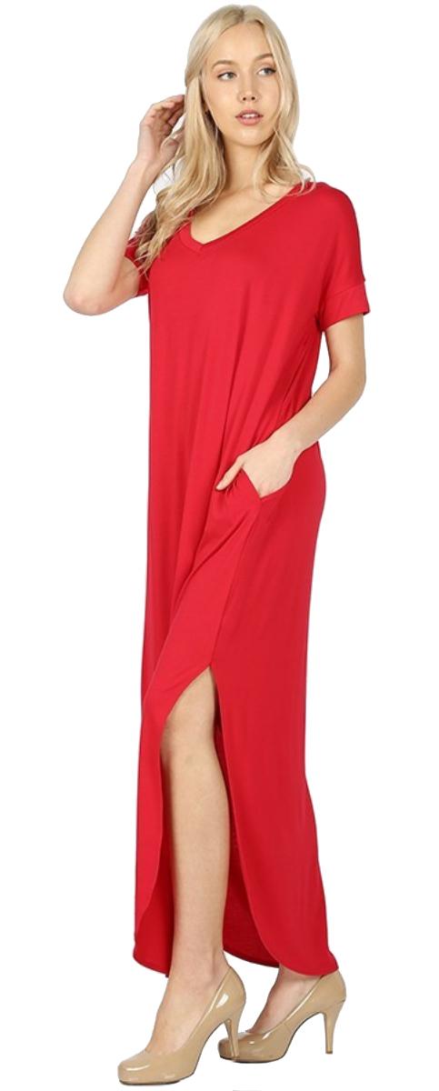 Women-039-s-Juniors-Plus-Short-Sleeve-Casual-Long-Maxi-Dress-Side-Slits-and-pockets thumbnail 43