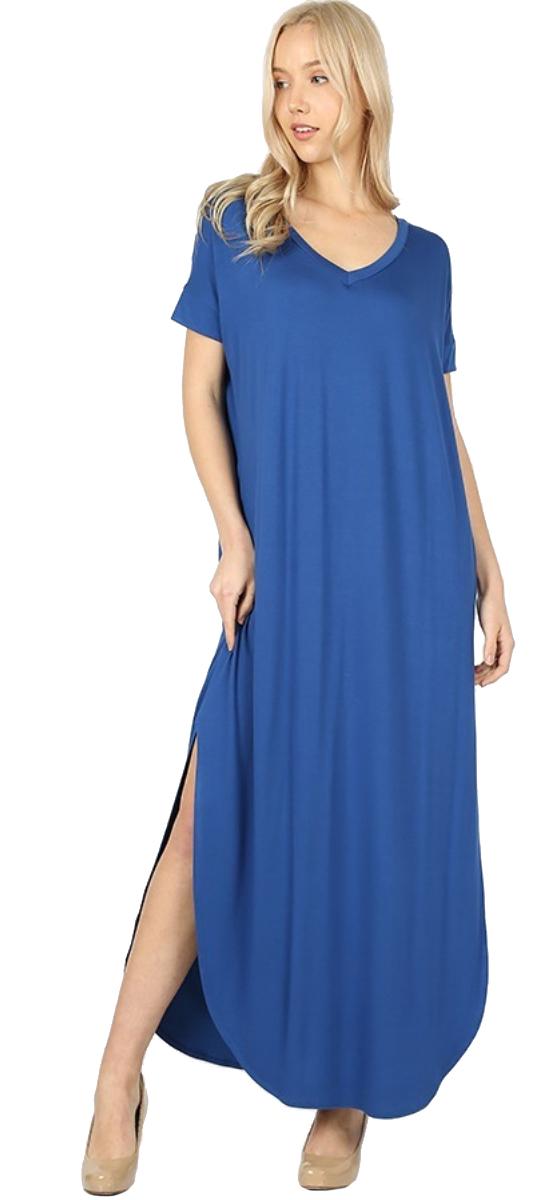 Women-039-s-Juniors-Plus-Short-Sleeve-Casual-Long-Maxi-Dress-Side-Slits-and-pockets thumbnail 44