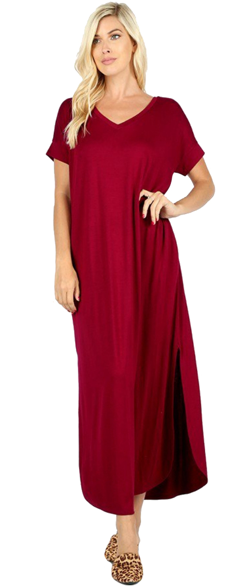 Women-039-s-Juniors-Plus-Short-Sleeve-Casual-Long-Maxi-Dress-Side-Slits-and-pockets thumbnail 17