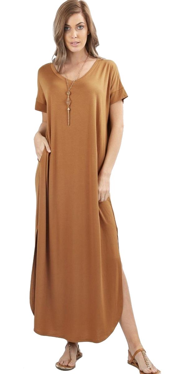 Women-039-s-Juniors-Plus-Short-Sleeve-Casual-Long-Maxi-Dress-Side-Slits-and-pockets thumbnail 19