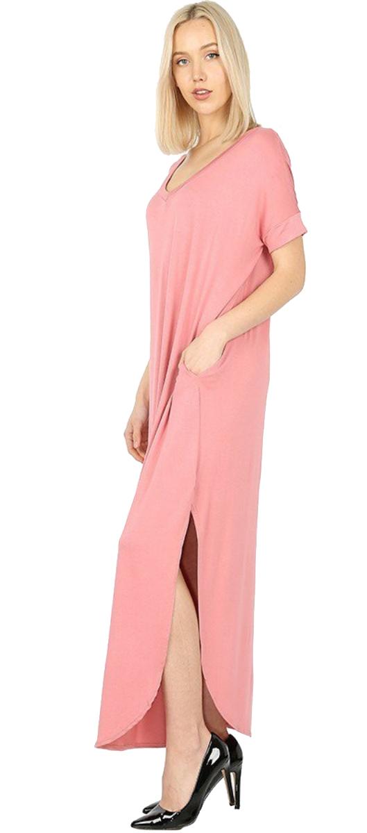 Women-039-s-Juniors-Plus-Short-Sleeve-Casual-Long-Maxi-Dress-Side-Slits-and-pockets thumbnail 29
