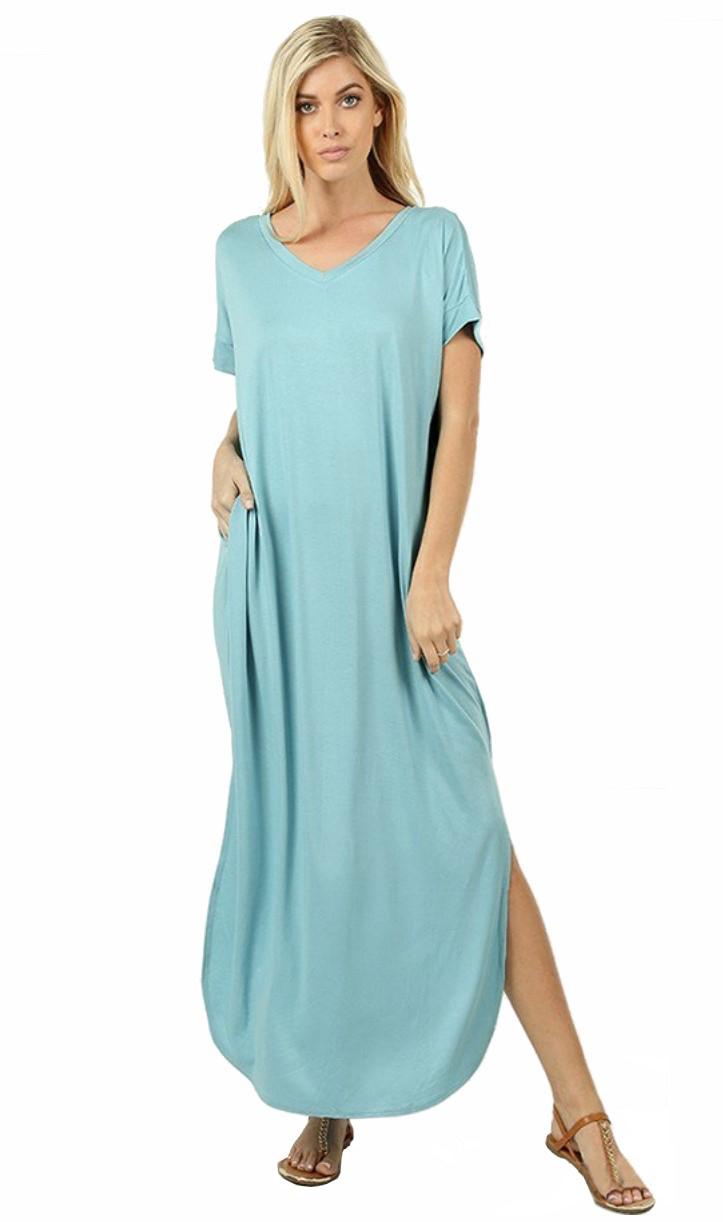 Women-039-s-Juniors-Plus-Short-Sleeve-Casual-Long-Maxi-Dress-Side-Slits-and-pockets thumbnail 38