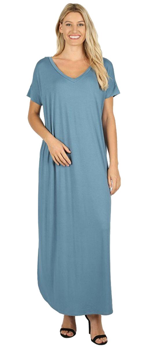 Women-039-s-Juniors-Plus-Short-Sleeve-Casual-Long-Maxi-Dress-Side-Slits-and-pockets thumbnail 46