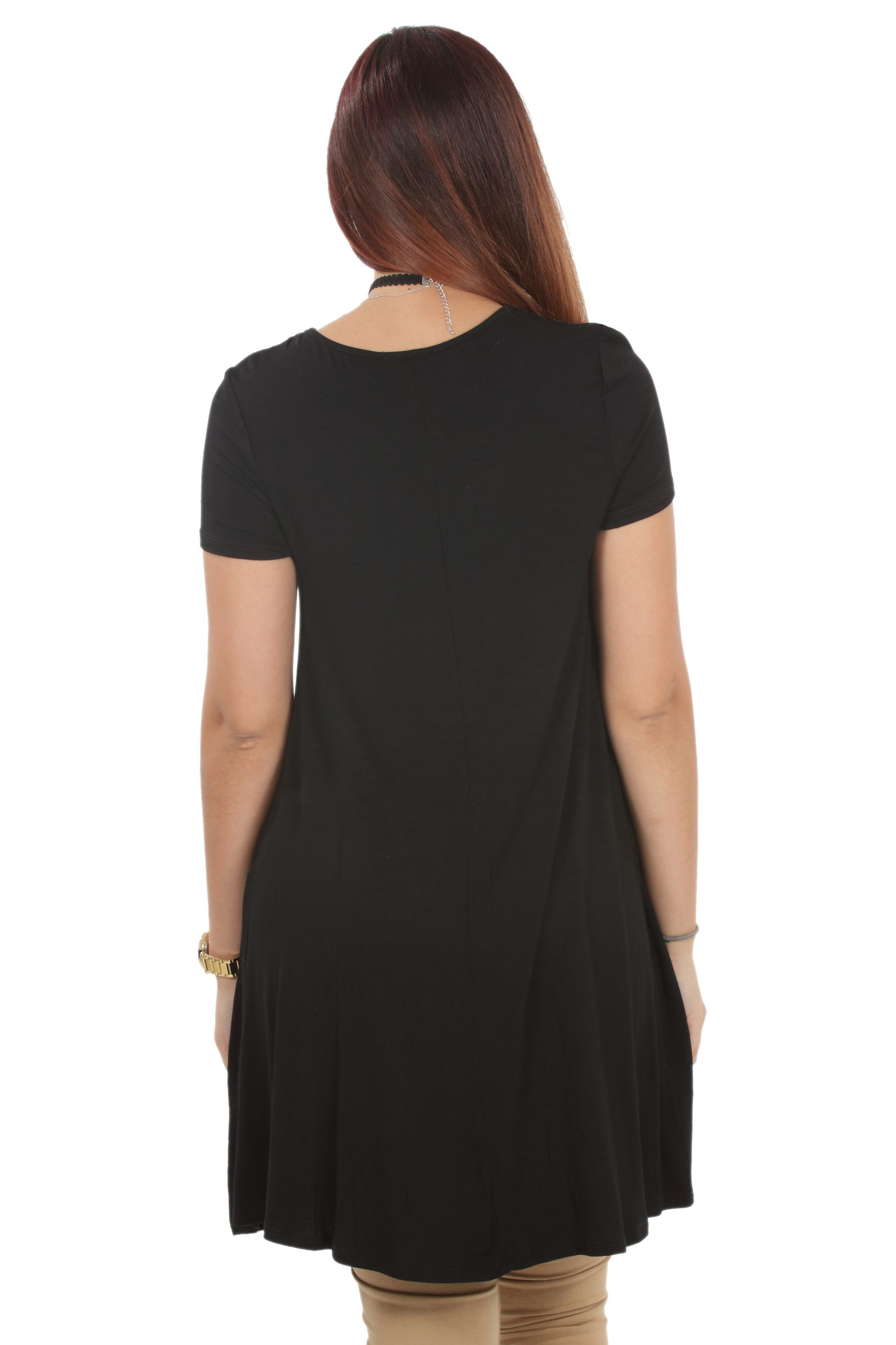 RS1043-Women-039-s-Short-Sleeve-Flare-Hem-Loose-Fit-Round-Neck-Dress-Tunic-Top thumbnail 10