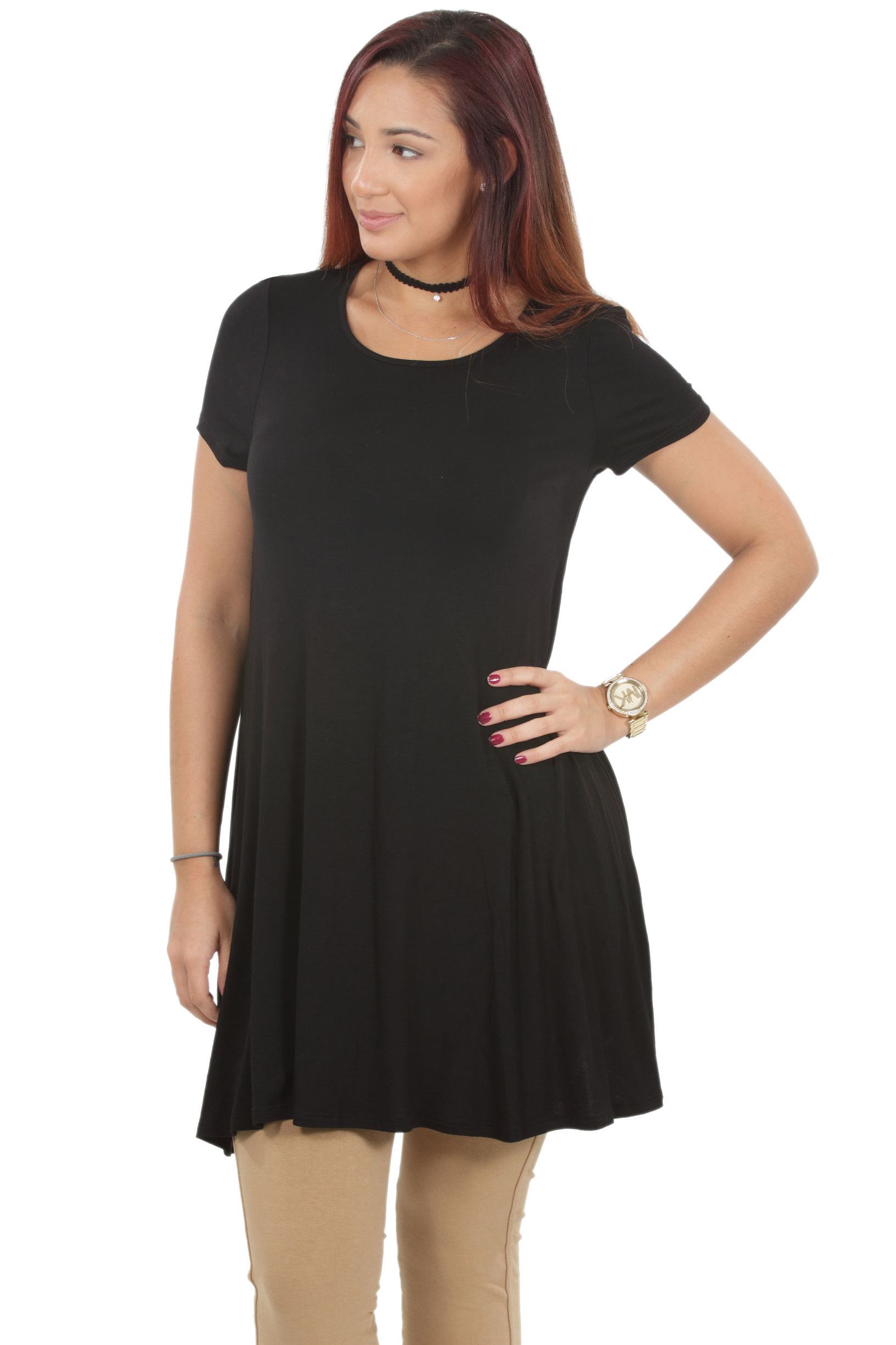 RS1043-Women-039-s-Short-Sleeve-Flare-Hem-Loose-Fit-Round-Neck-Dress-Tunic-Top thumbnail 8