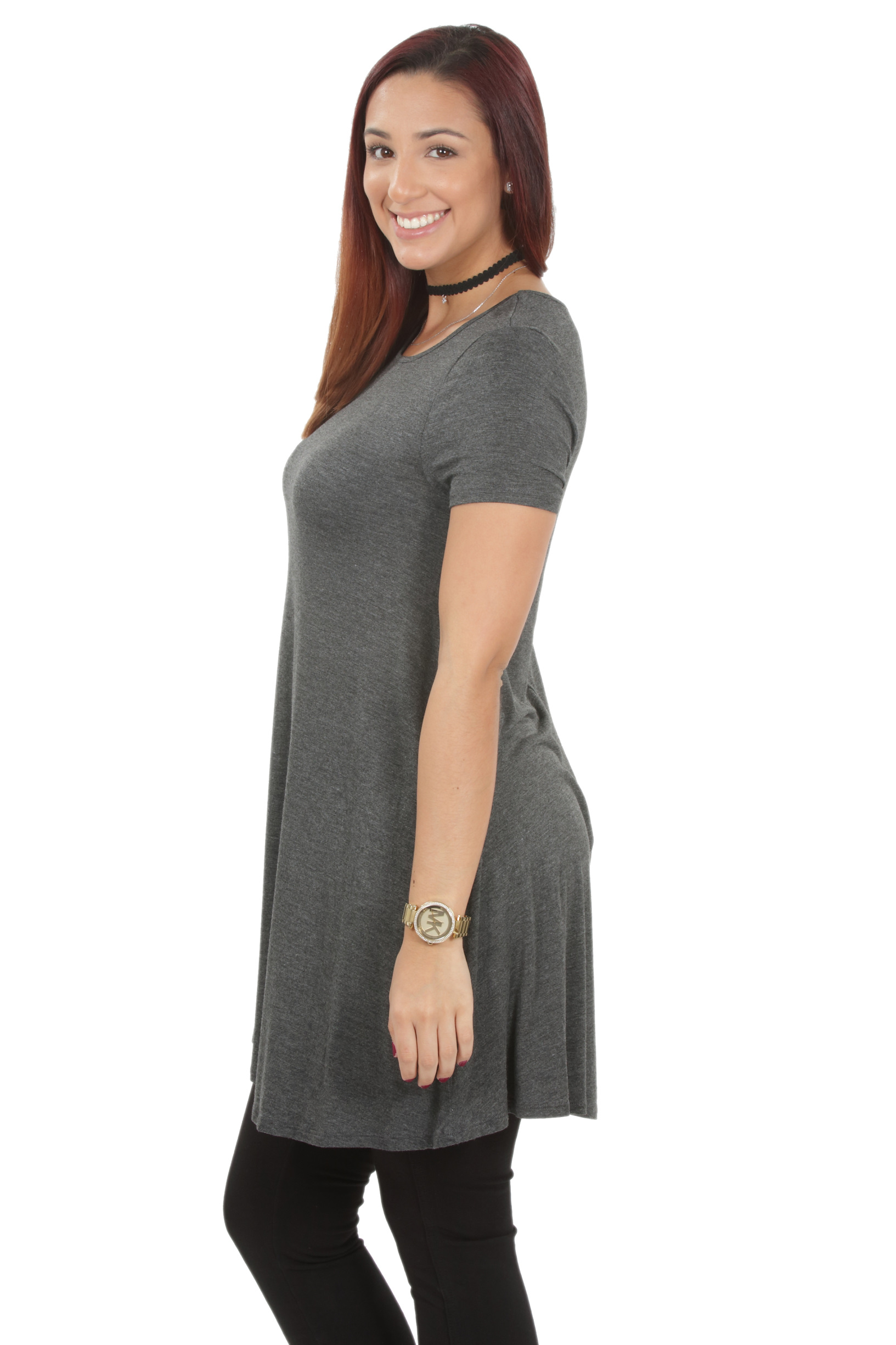 RS1043-Women-039-s-Short-Sleeve-Flare-Hem-Loose-Fit-Round-Neck-Dress-Tunic-Top thumbnail 15