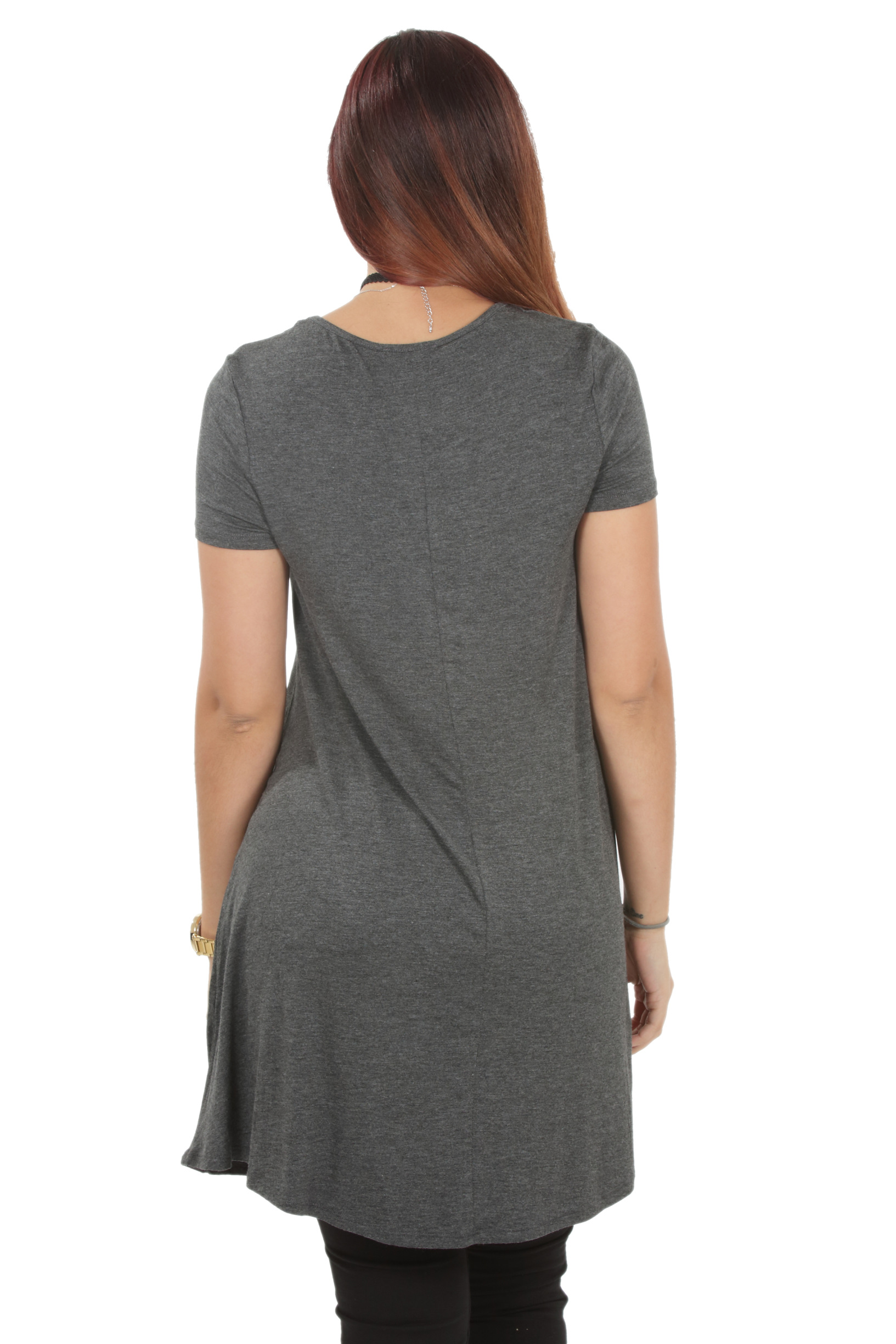 RS1043-Women-039-s-Short-Sleeve-Flare-Hem-Loose-Fit-Round-Neck-Dress-Tunic-Top thumbnail 16