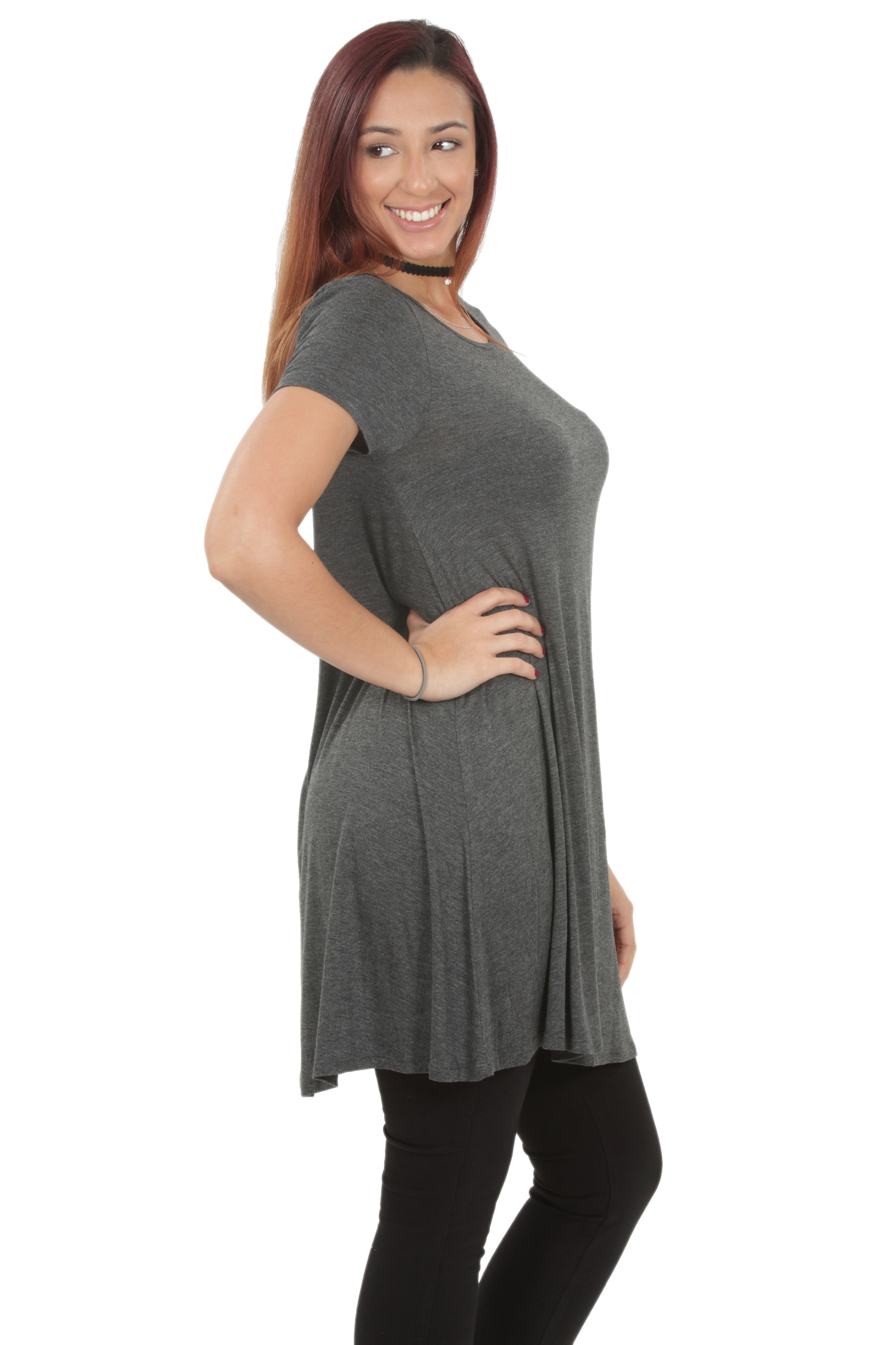 RS1043-Women-039-s-Short-Sleeve-Flare-Hem-Loose-Fit-Round-Neck-Dress-Tunic-Top thumbnail 17