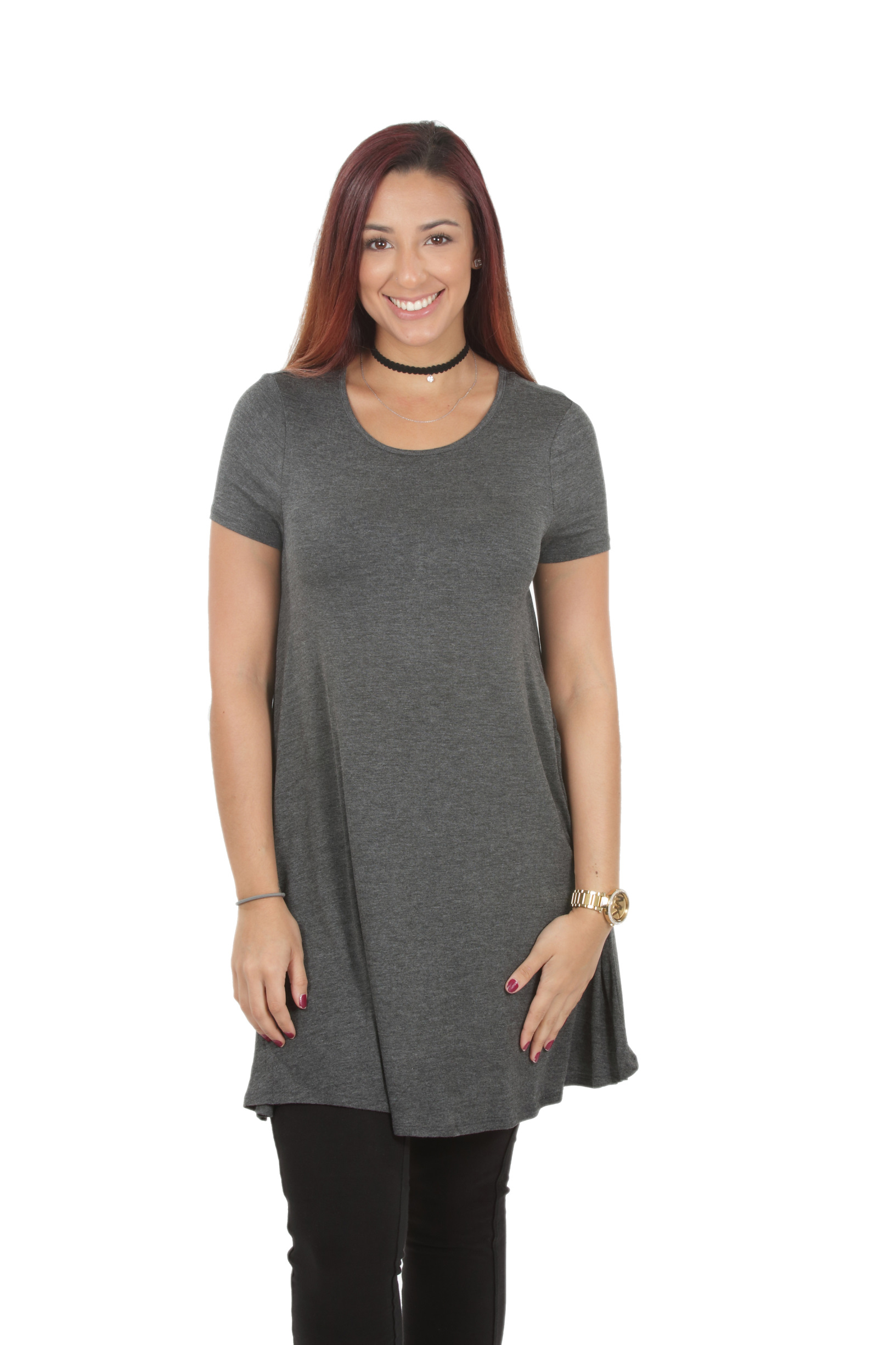 RS1043-Women-039-s-Short-Sleeve-Flare-Hem-Loose-Fit-Round-Neck-Dress-Tunic-Top thumbnail 14
