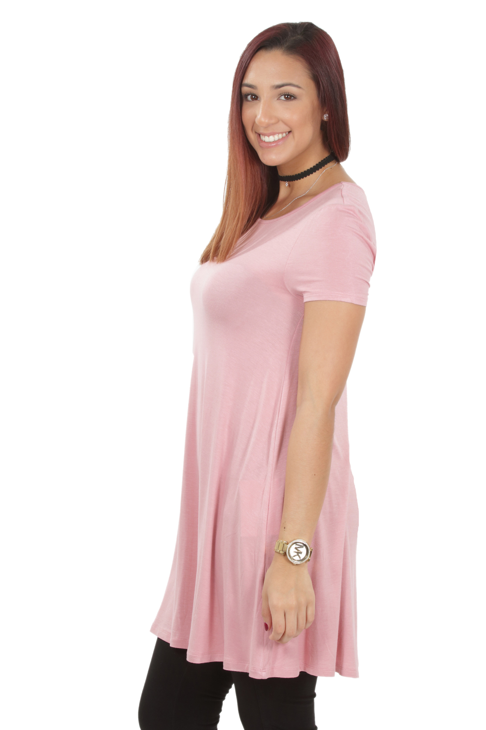 RS1043-Women-039-s-Short-Sleeve-Flare-Hem-Loose-Fit-Round-Neck-Dress-Tunic-Top thumbnail 20