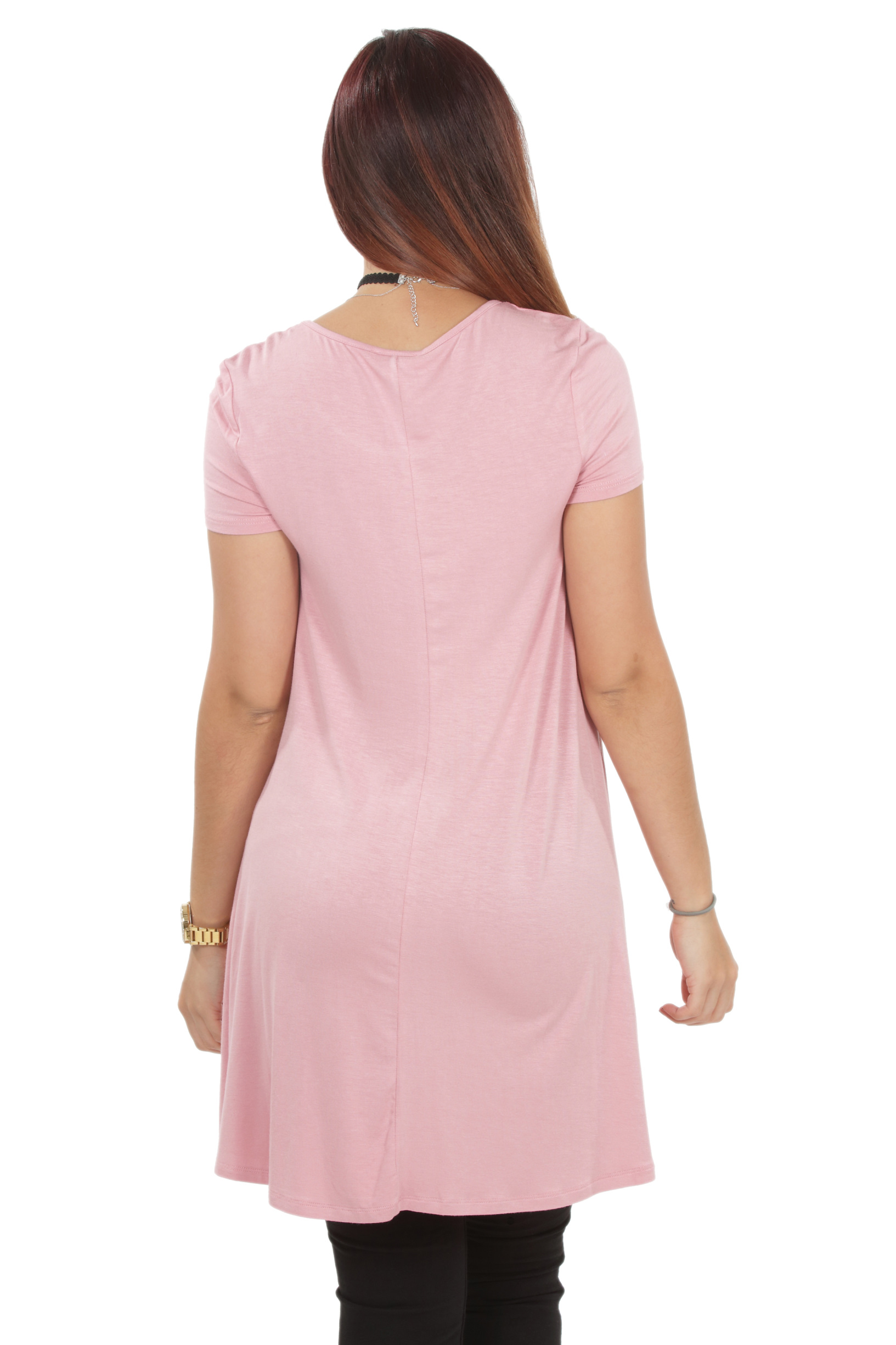 RS1043-Women-039-s-Short-Sleeve-Flare-Hem-Loose-Fit-Round-Neck-Dress-Tunic-Top thumbnail 22