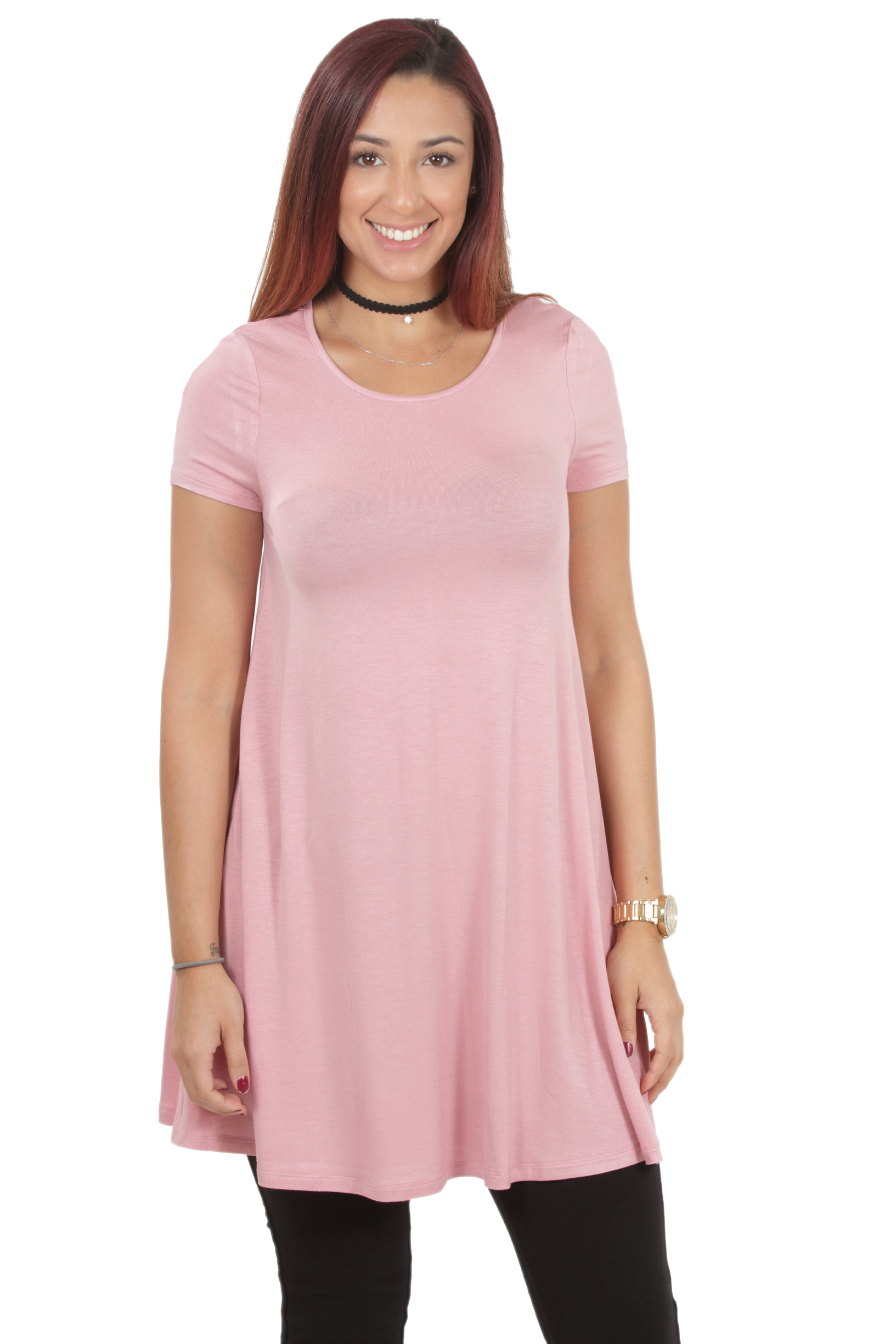 RS1043-Women-039-s-Short-Sleeve-Flare-Hem-Loose-Fit-Round-Neck-Dress-Tunic-Top thumbnail 21
