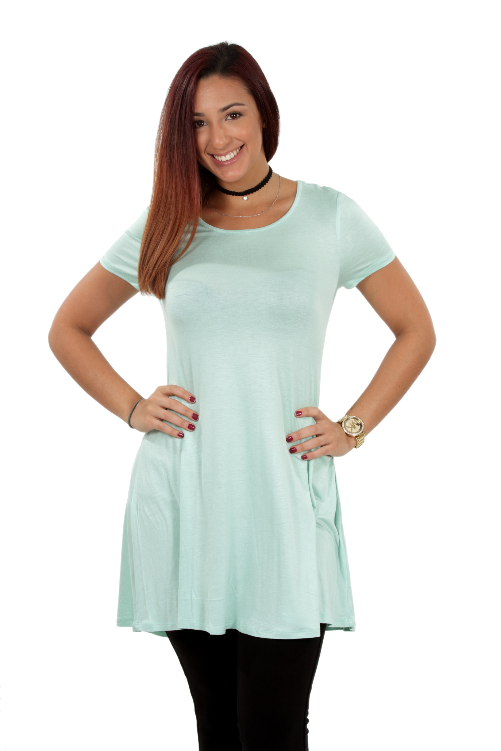 RS1043-Women-039-s-Short-Sleeve-Flare-Hem-Loose-Fit-Round-Neck-Dress-Tunic-Top thumbnail 32