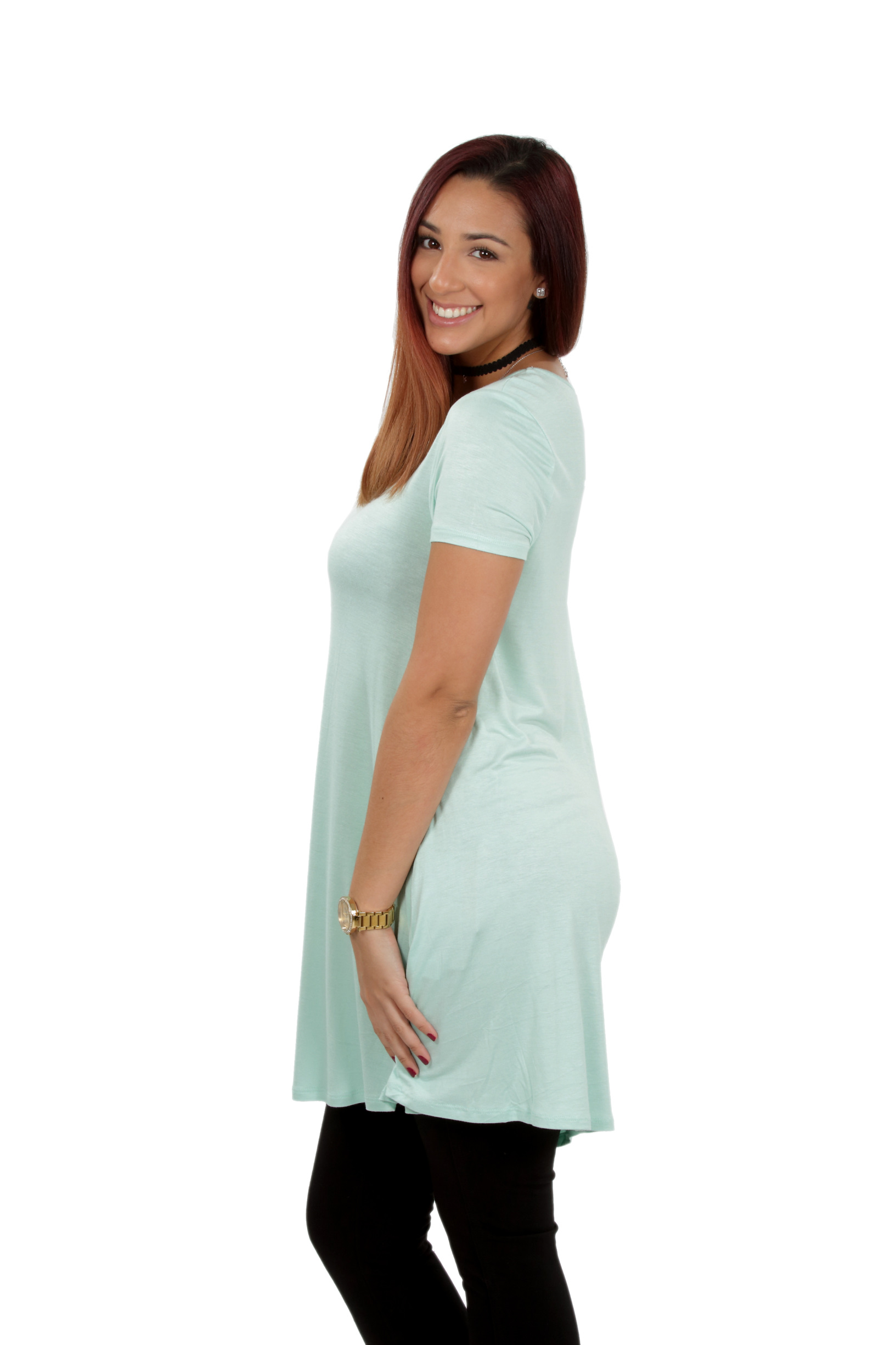 RS1043-Women-039-s-Short-Sleeve-Flare-Hem-Loose-Fit-Round-Neck-Dress-Tunic-Top thumbnail 33