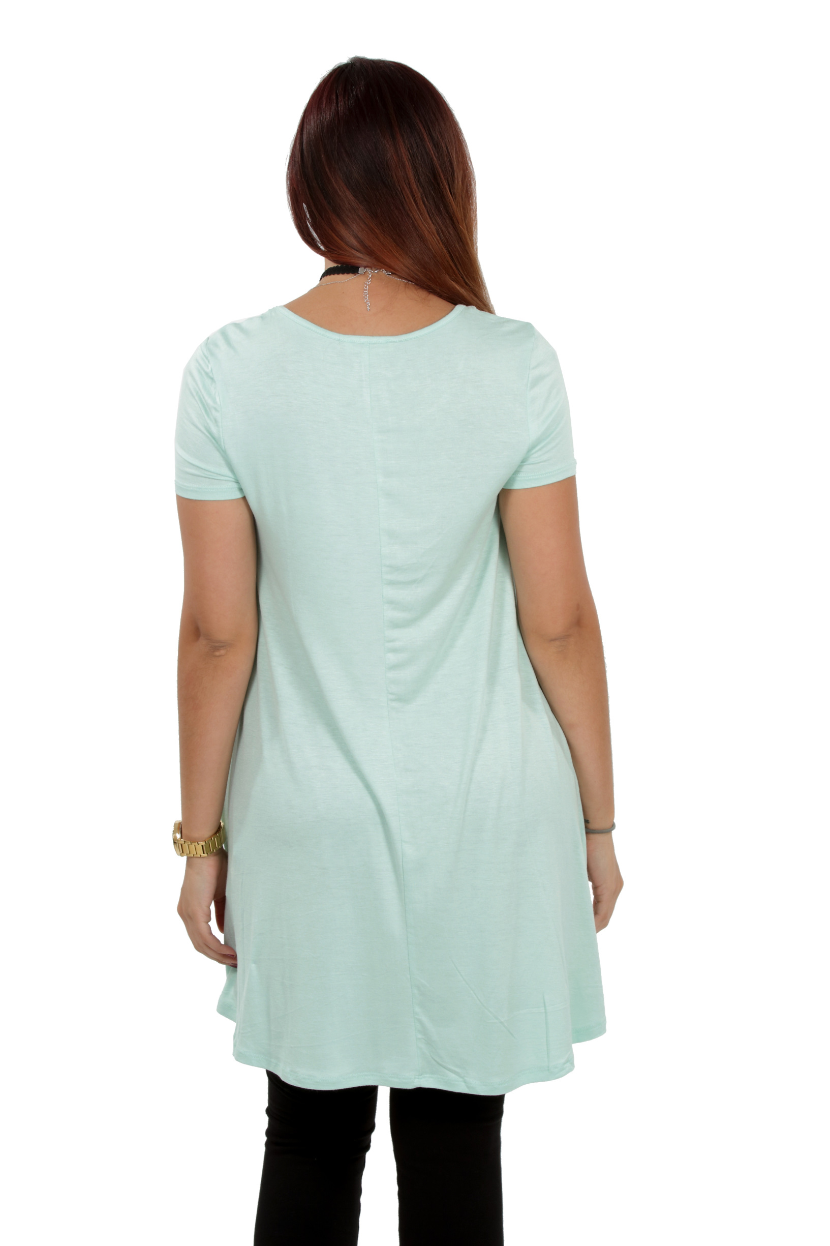 RS1043-Women-039-s-Short-Sleeve-Flare-Hem-Loose-Fit-Round-Neck-Dress-Tunic-Top thumbnail 34
