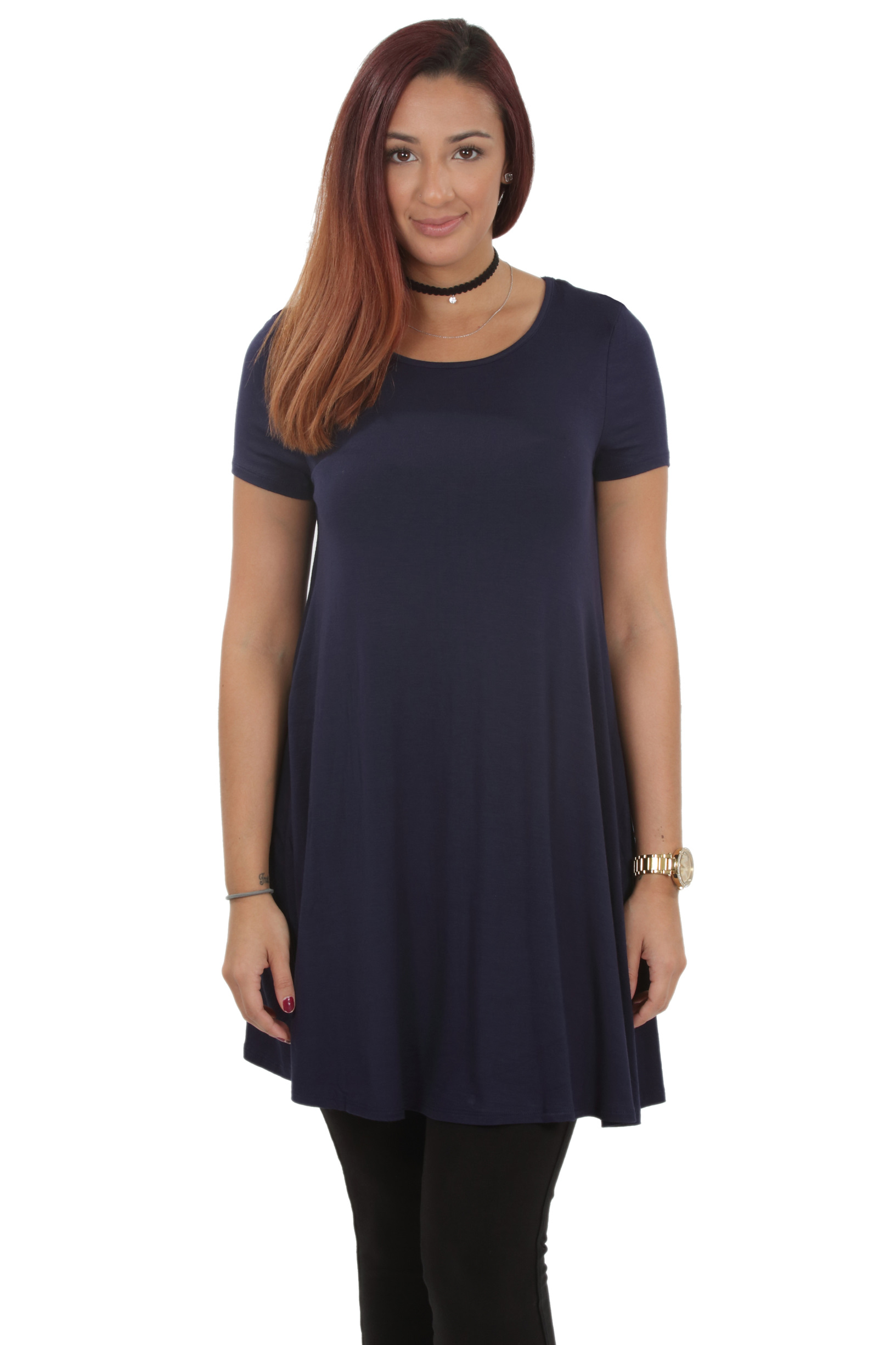 RS1043-Women-039-s-Short-Sleeve-Flare-Hem-Loose-Fit-Round-Neck-Dress-Tunic-Top thumbnail 38