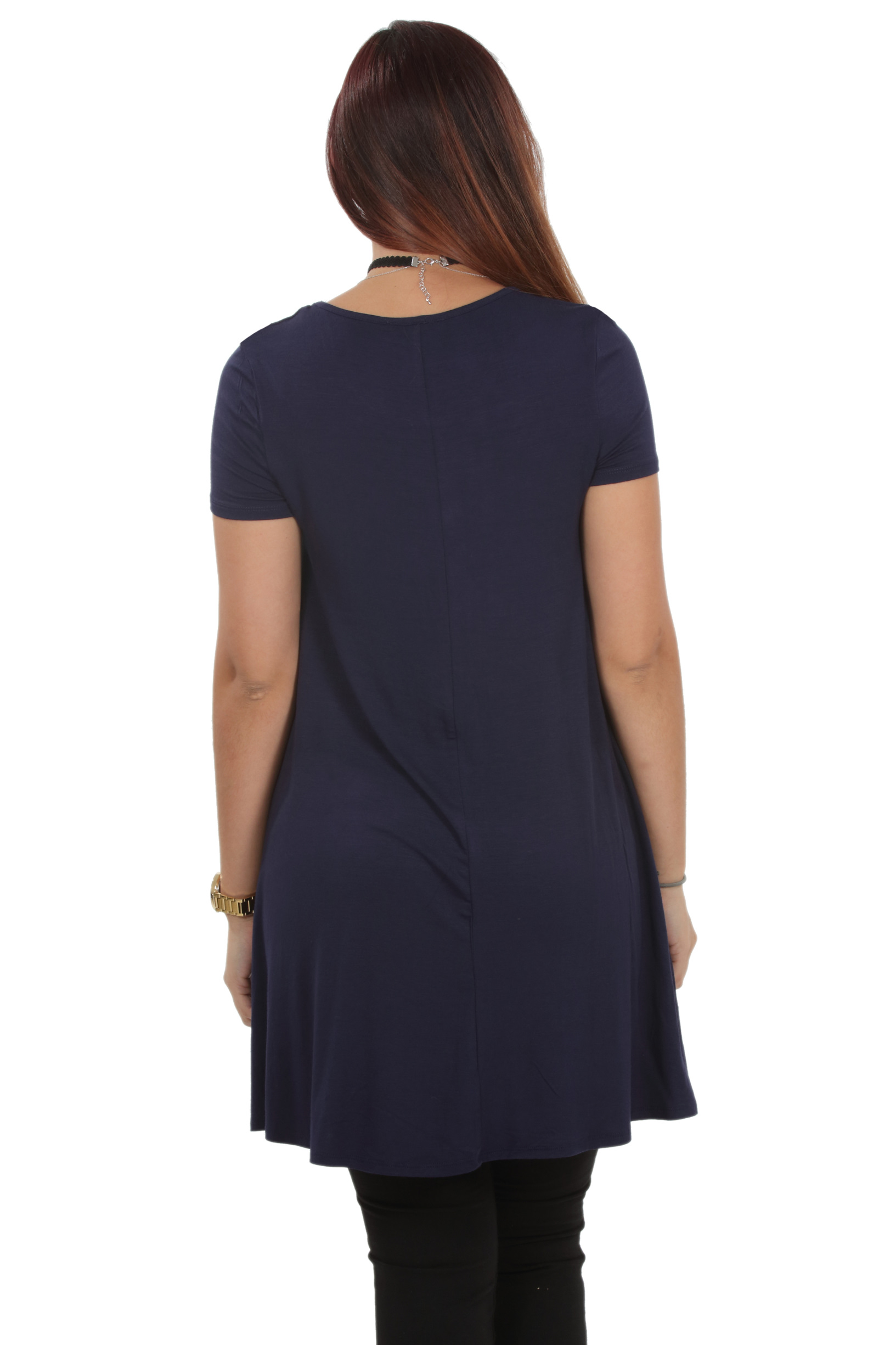 RS1043-Women-039-s-Short-Sleeve-Flare-Hem-Loose-Fit-Round-Neck-Dress-Tunic-Top thumbnail 40