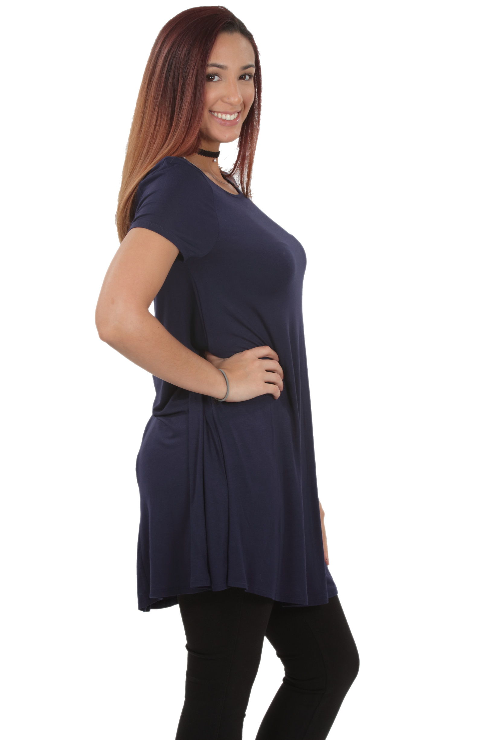 RS1043-Women-039-s-Short-Sleeve-Flare-Hem-Loose-Fit-Round-Neck-Dress-Tunic-Top thumbnail 41