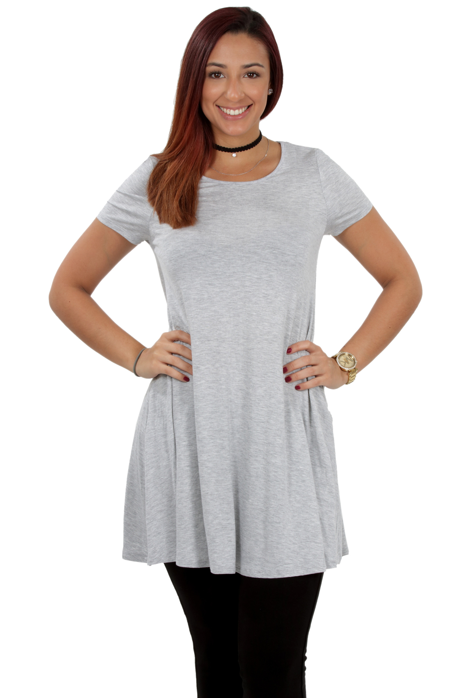 RS1043-Women-039-s-Short-Sleeve-Flare-Hem-Loose-Fit-Round-Neck-Dress-Tunic-Top thumbnail 26