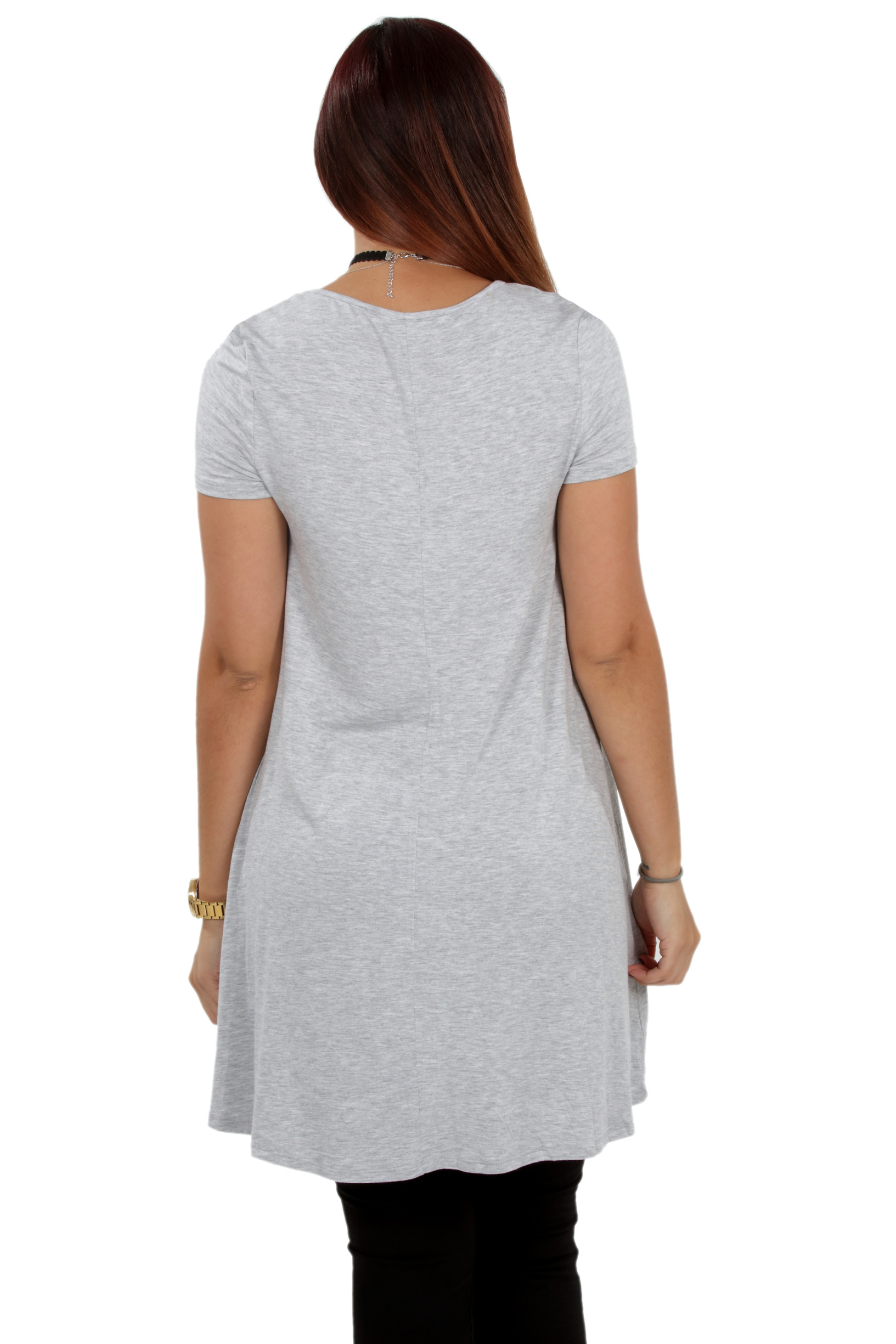 RS1043-Women-039-s-Short-Sleeve-Flare-Hem-Loose-Fit-Round-Neck-Dress-Tunic-Top thumbnail 28