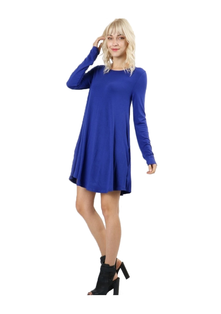 RS9921P-Women-039-s-Long-Sleeve-Flare-Hem-Loose-Fit-Round-Neck-Dress-Tunic-Top thumbnail 25