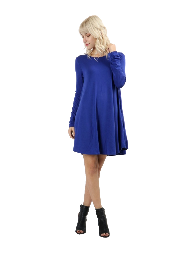 RS9921P-Women-039-s-Long-Sleeve-Flare-Hem-Loose-Fit-Round-Neck-Dress-Tunic-Top thumbnail 26